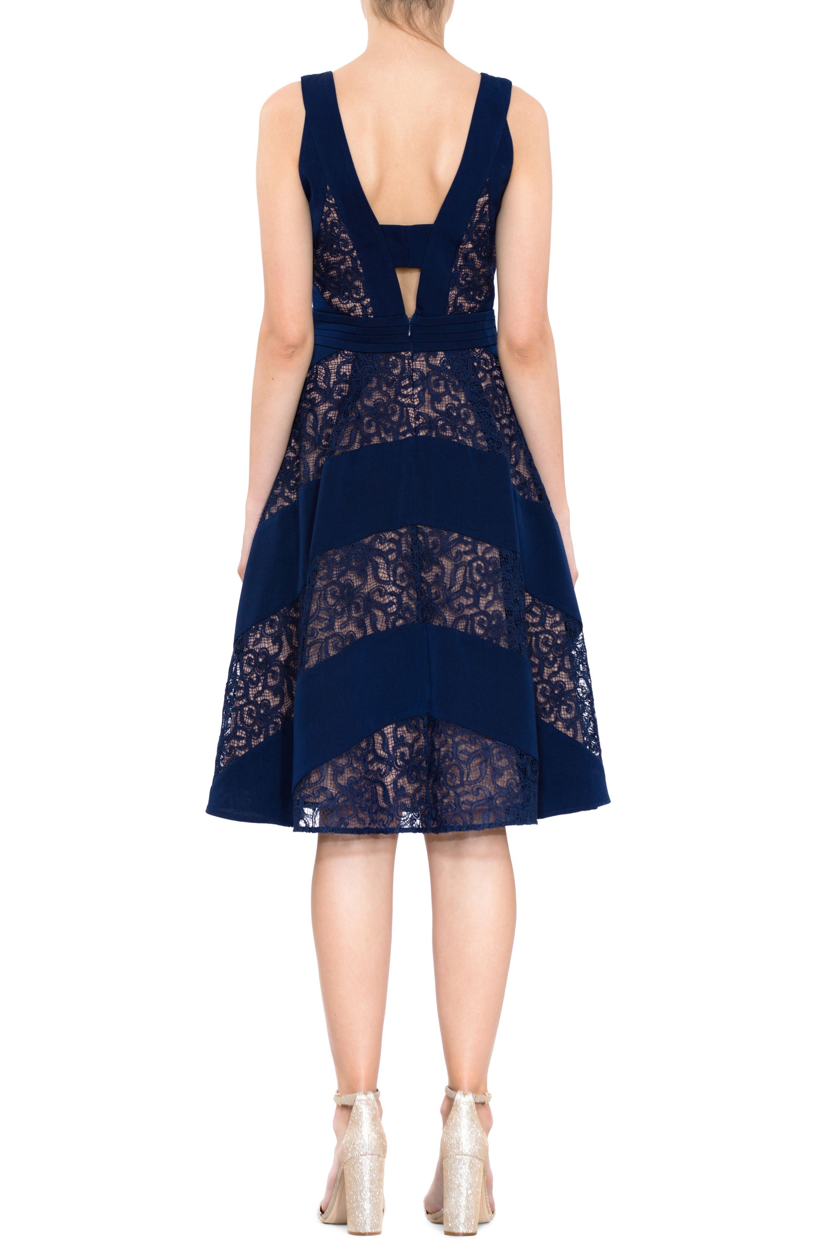 Mixed Lace Fit & Flare Dress,                             Alternate thumbnail 2, color,                             Navy