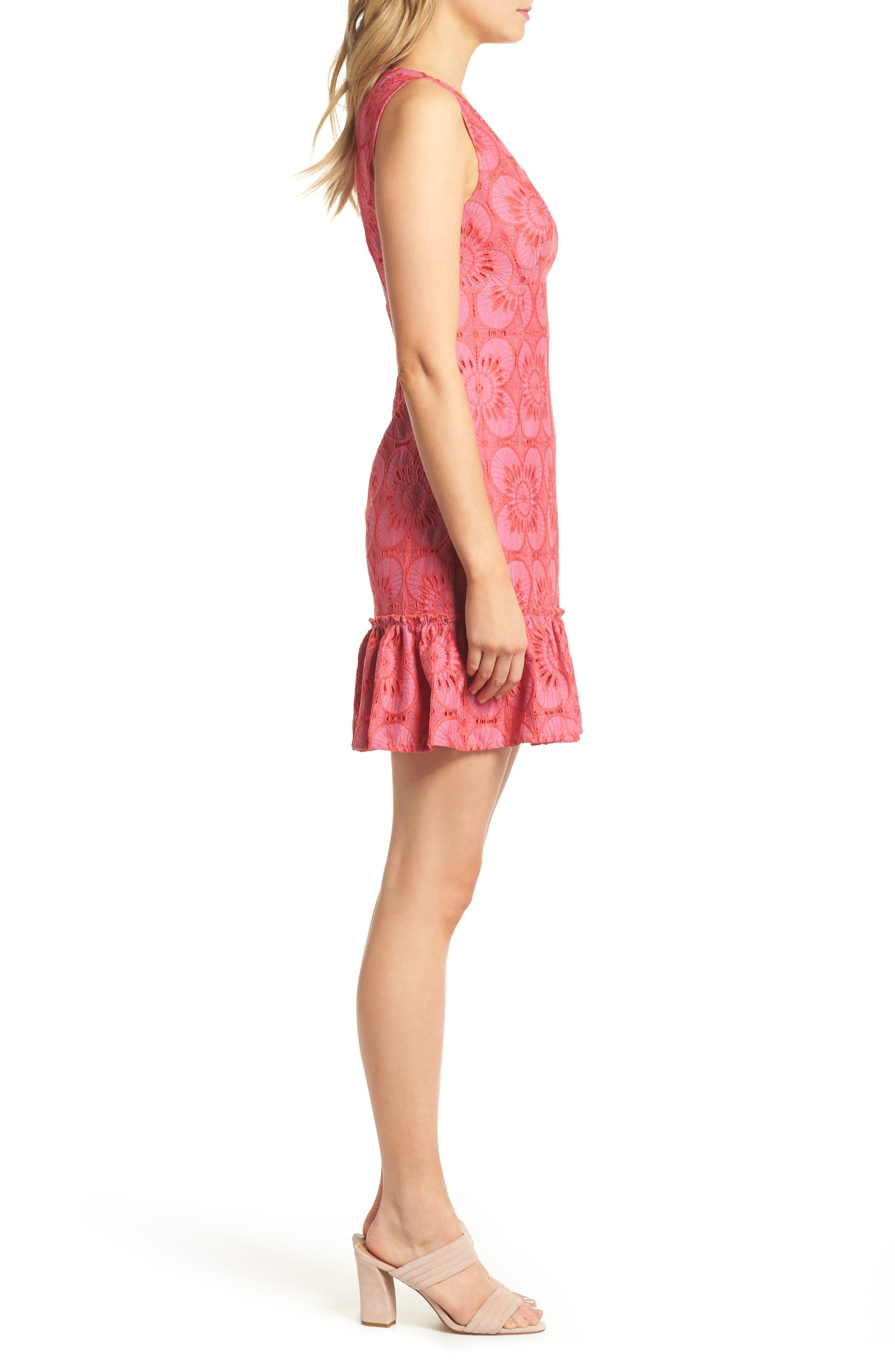 Carpinteria Lace Ruffle Hem Dress,                             Alternate thumbnail 3, color,                             Peony