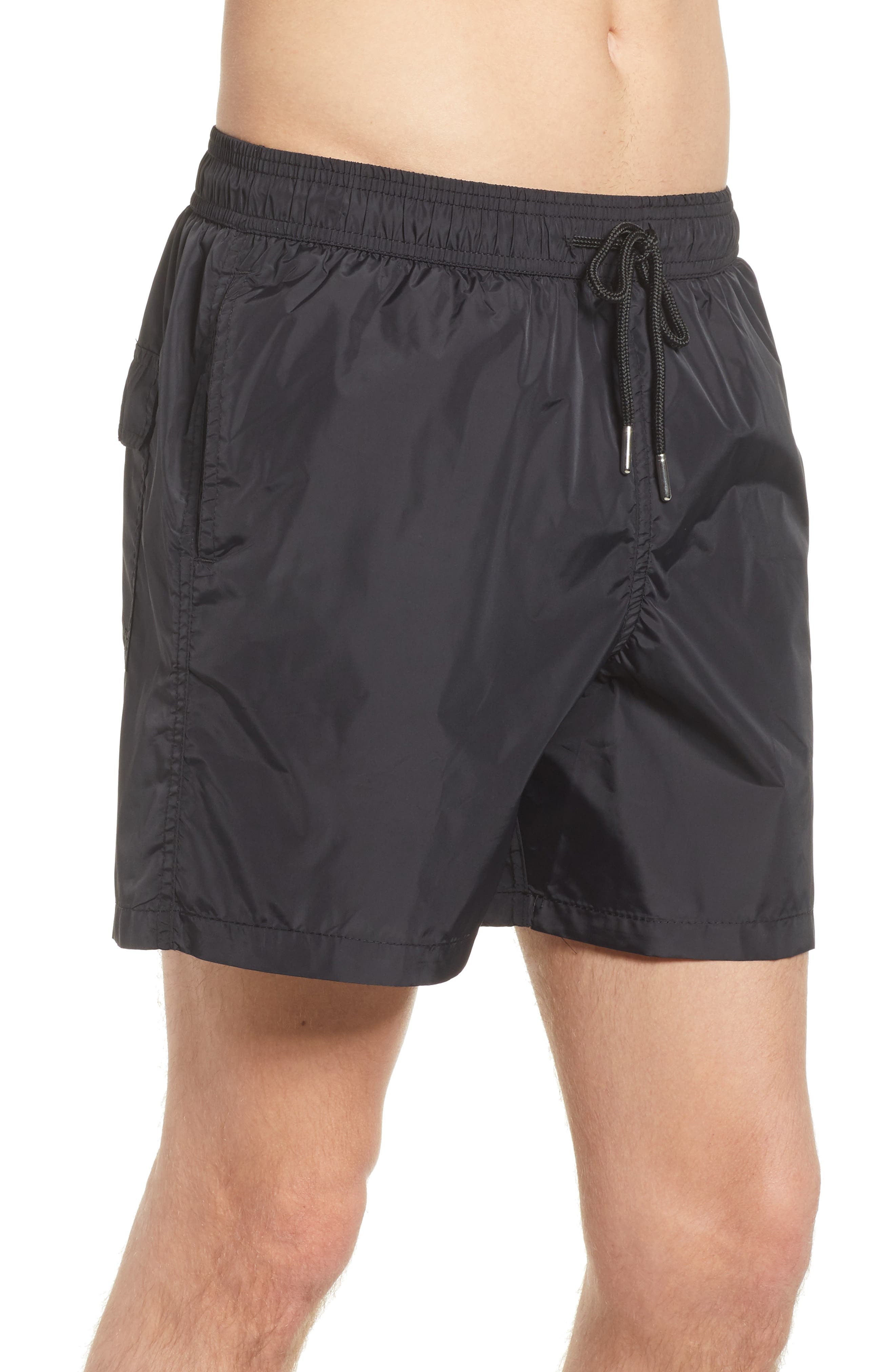 Swim Trunks,                             Alternate thumbnail 3, color,                             Black /Turquoise