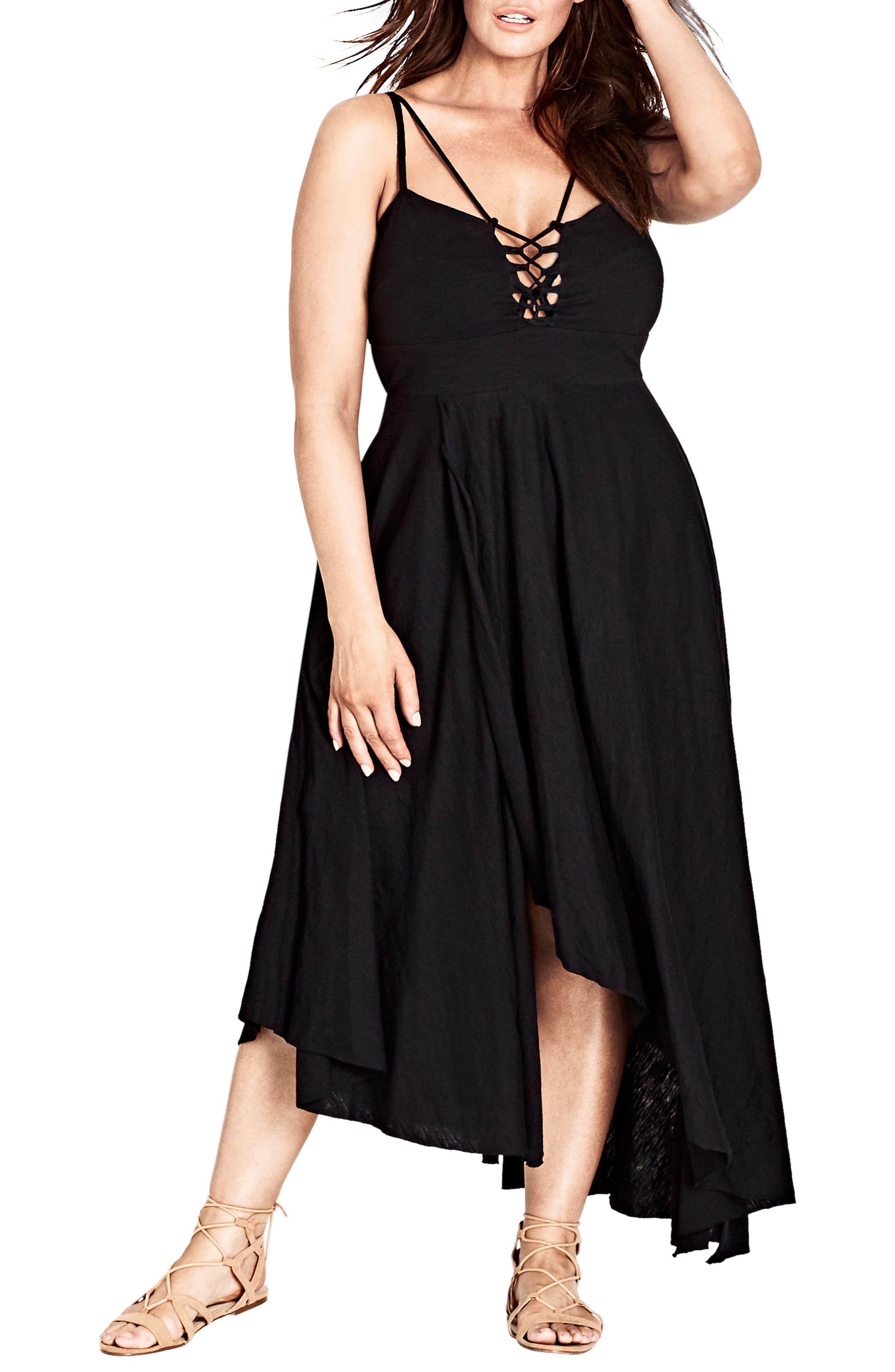 Strappy Maxi Dress,                             Main thumbnail 1, color,                             Black