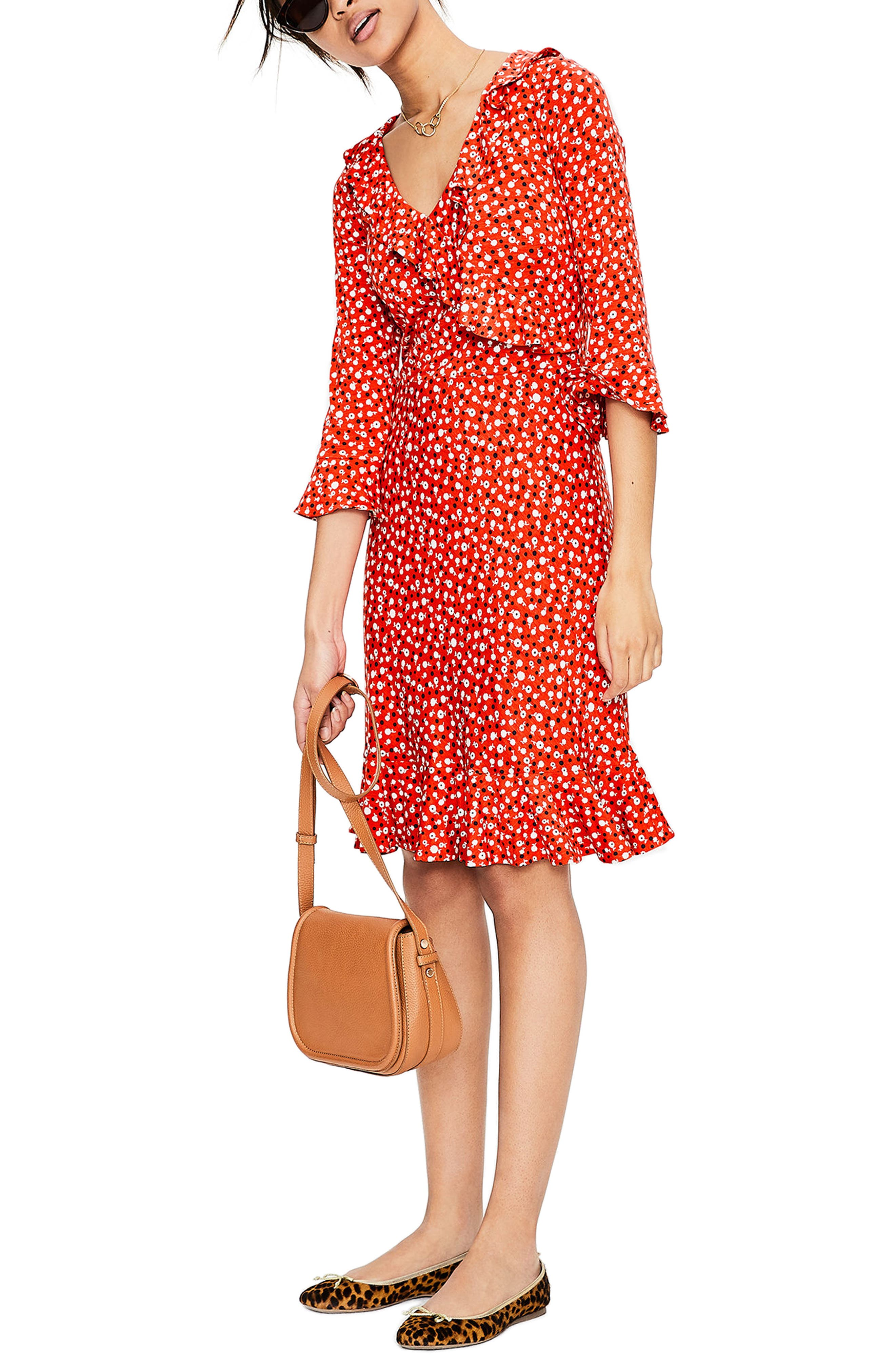 Fluted Wrap Style Stretch Jersey Dress,                         Main,                         color, Rosehip Daisy Ditsy