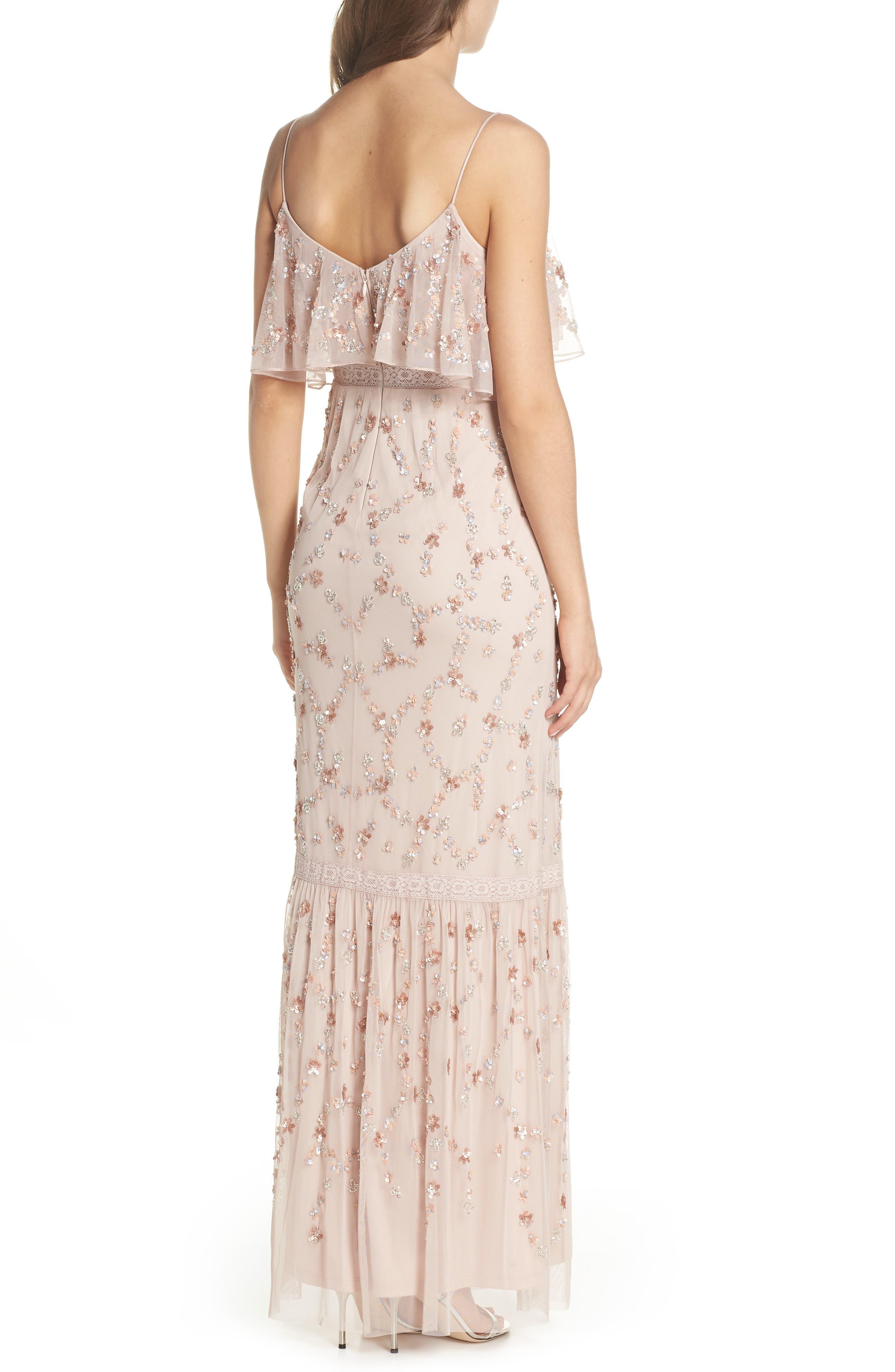 Embellished Mesh Popover Gown,                             Alternate thumbnail 2, color,                             Blush