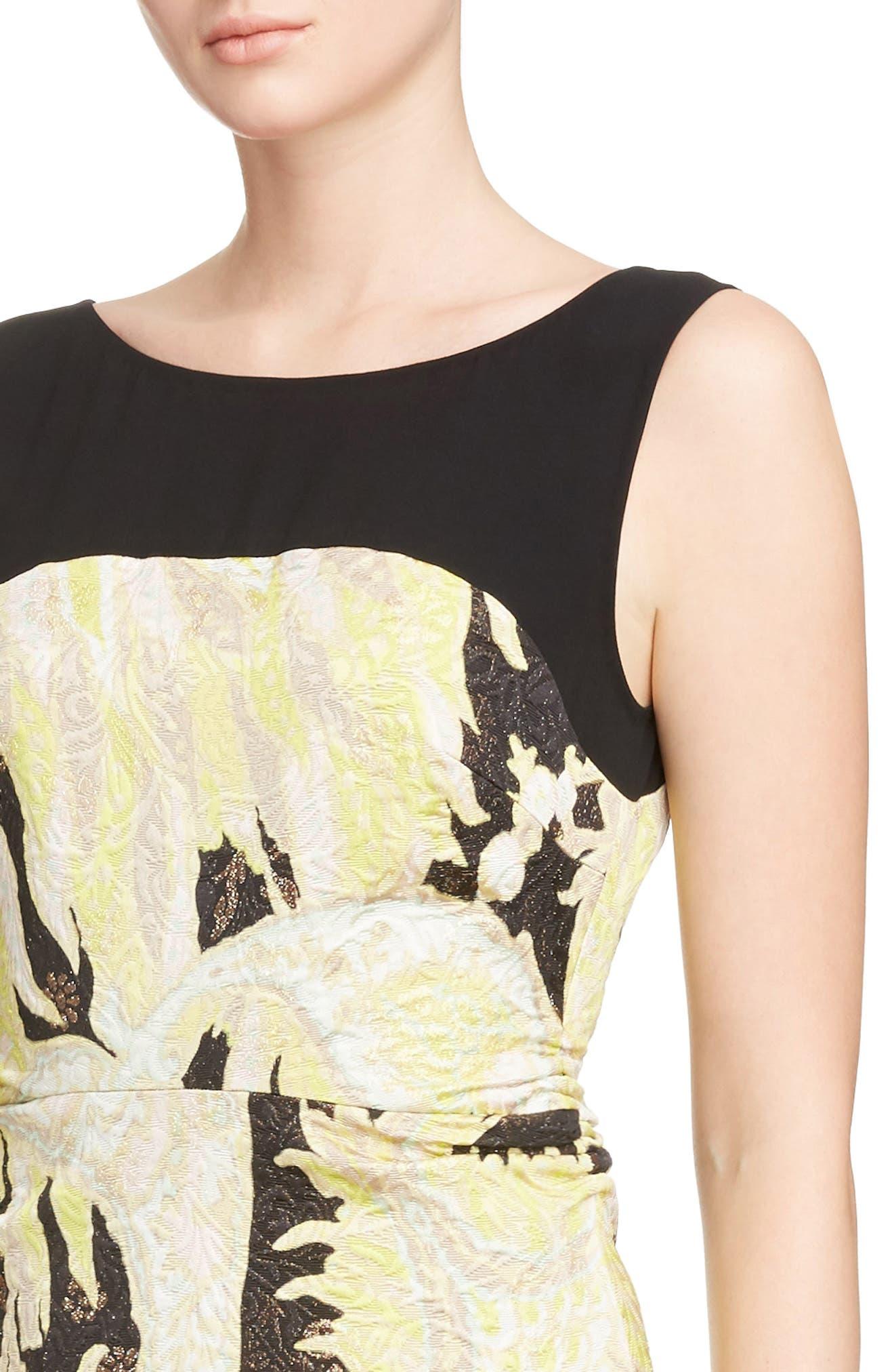 Illusion Paisley Brocade Dress,                             Alternate thumbnail 4, color,                             Black
