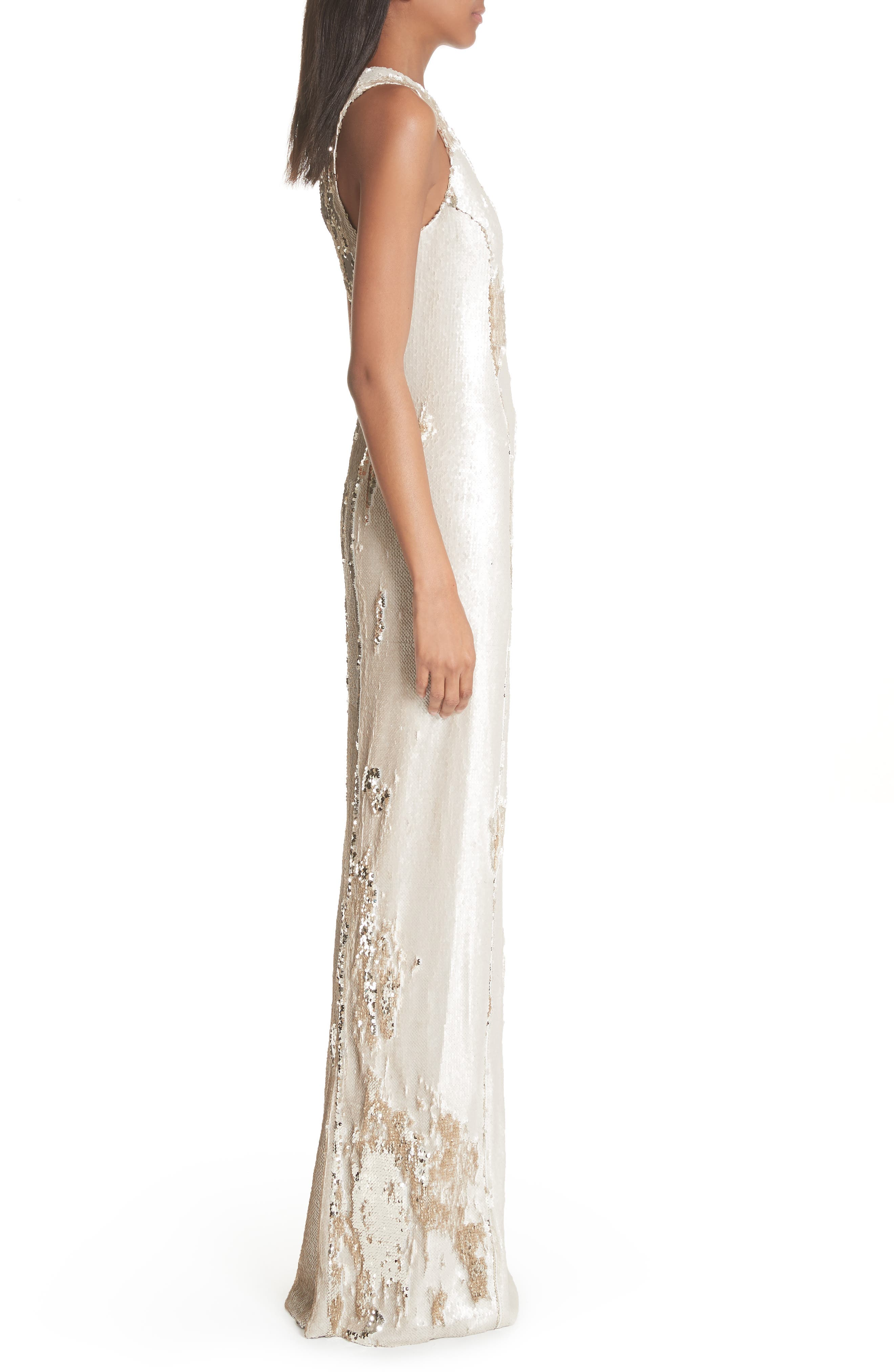 Sequin Column Gown,                             Alternate thumbnail 3, color,                             Nude Light Gold