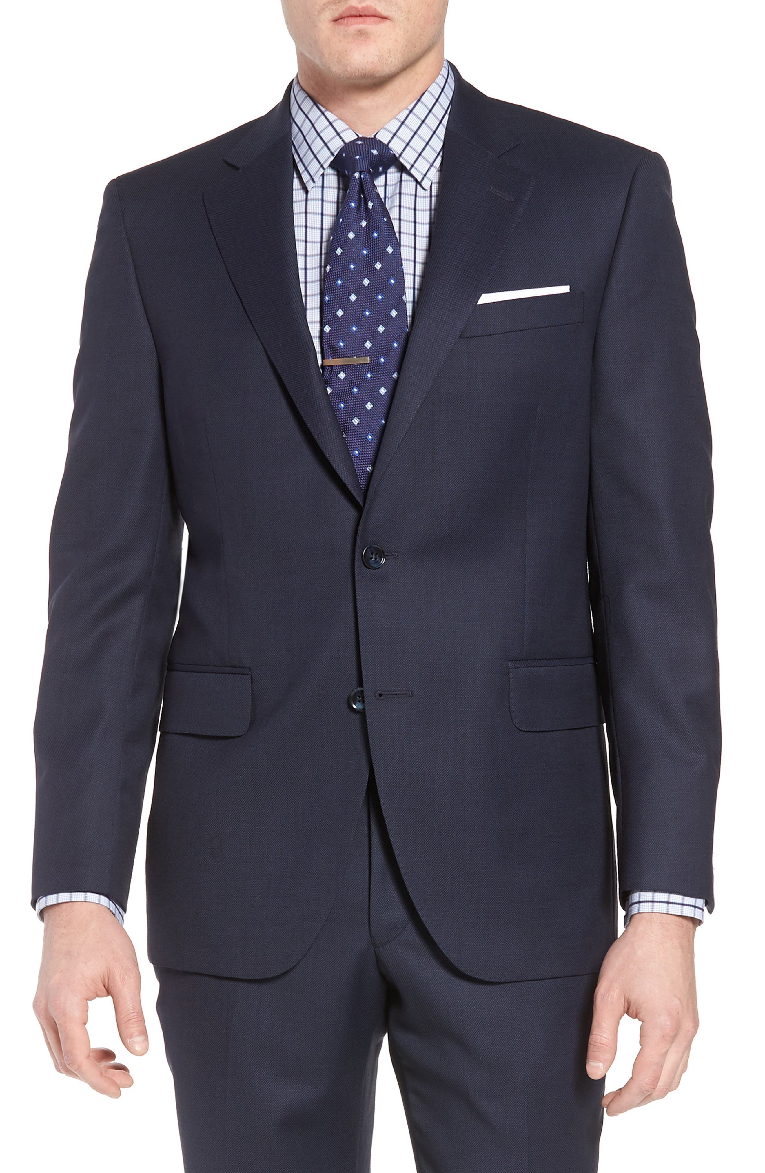 Classic Fit Bird's Eye Wool Suit,                             Alternate thumbnail 5, color,                             Navy