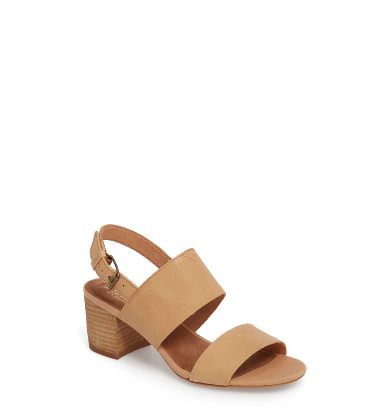6683d1edf95 Toms Women S Poppy Leather Slingback Block Heel Sandals In Honey Leather