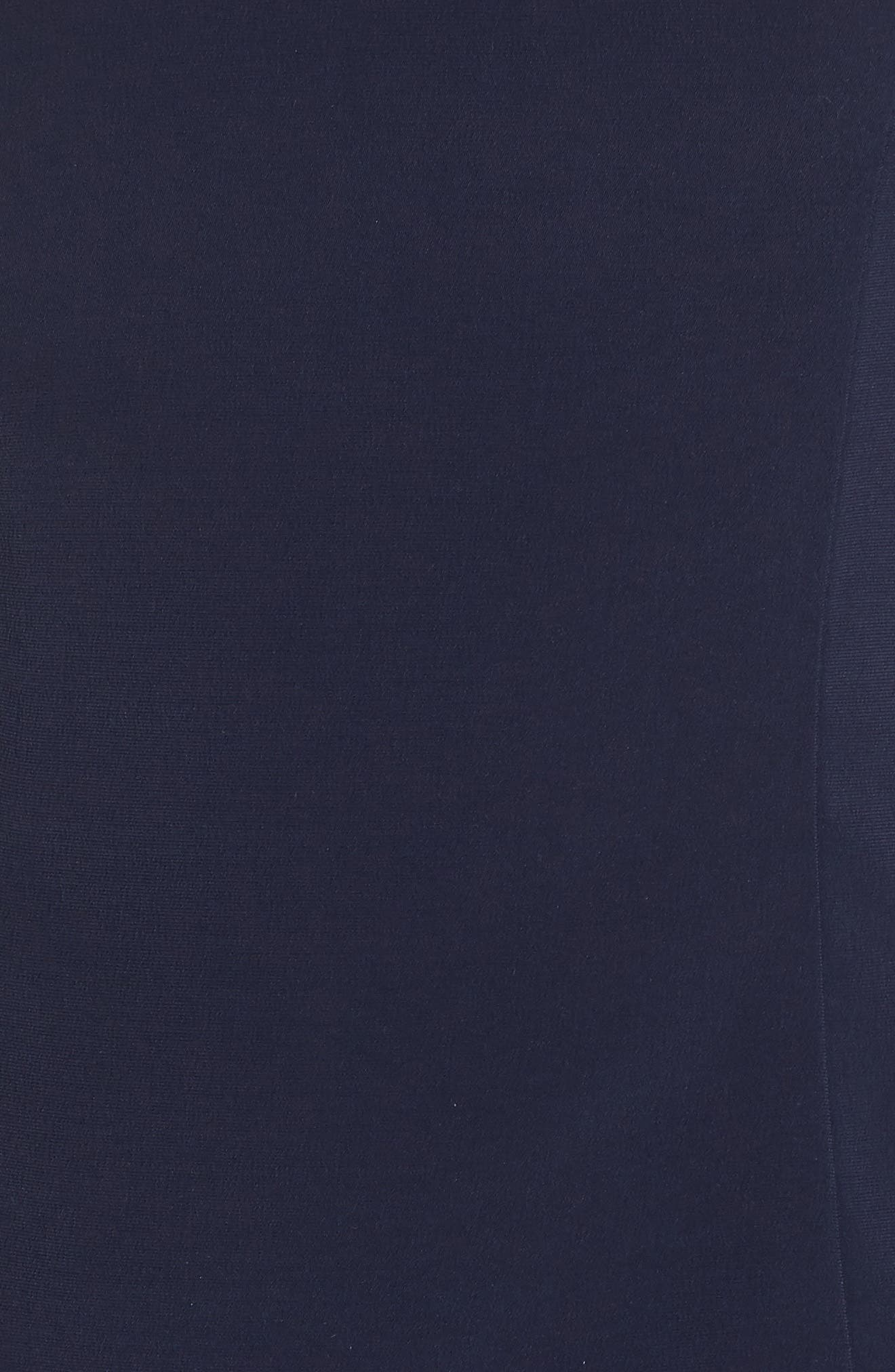 Beaded Crepe Trumpet Gown,                             Alternate thumbnail 5, color,                             Navy/ Navy