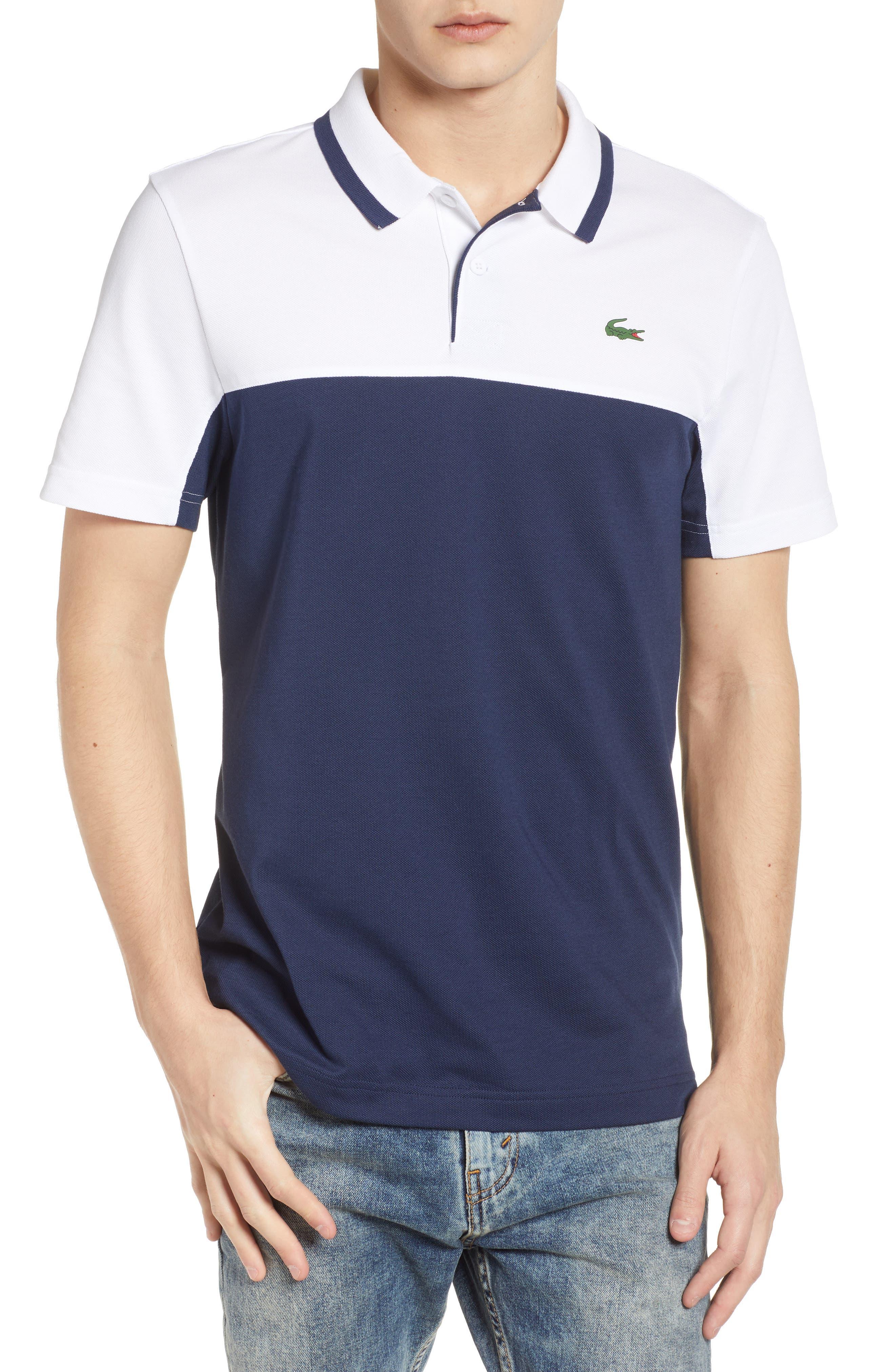 Piqué Cotton Blend Polo,                         Main,                         color, White/ Navy Blue