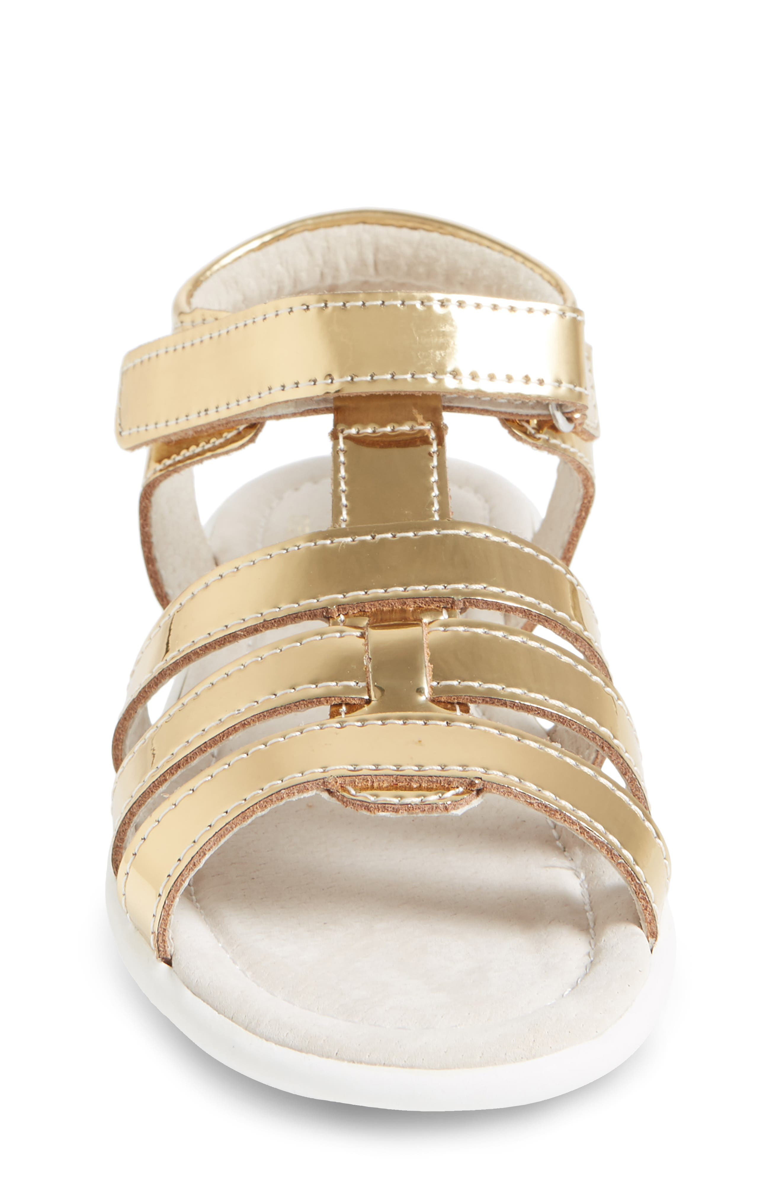 Fe Metallic Fisherman Sandal,                             Alternate thumbnail 4, color,                             Gold