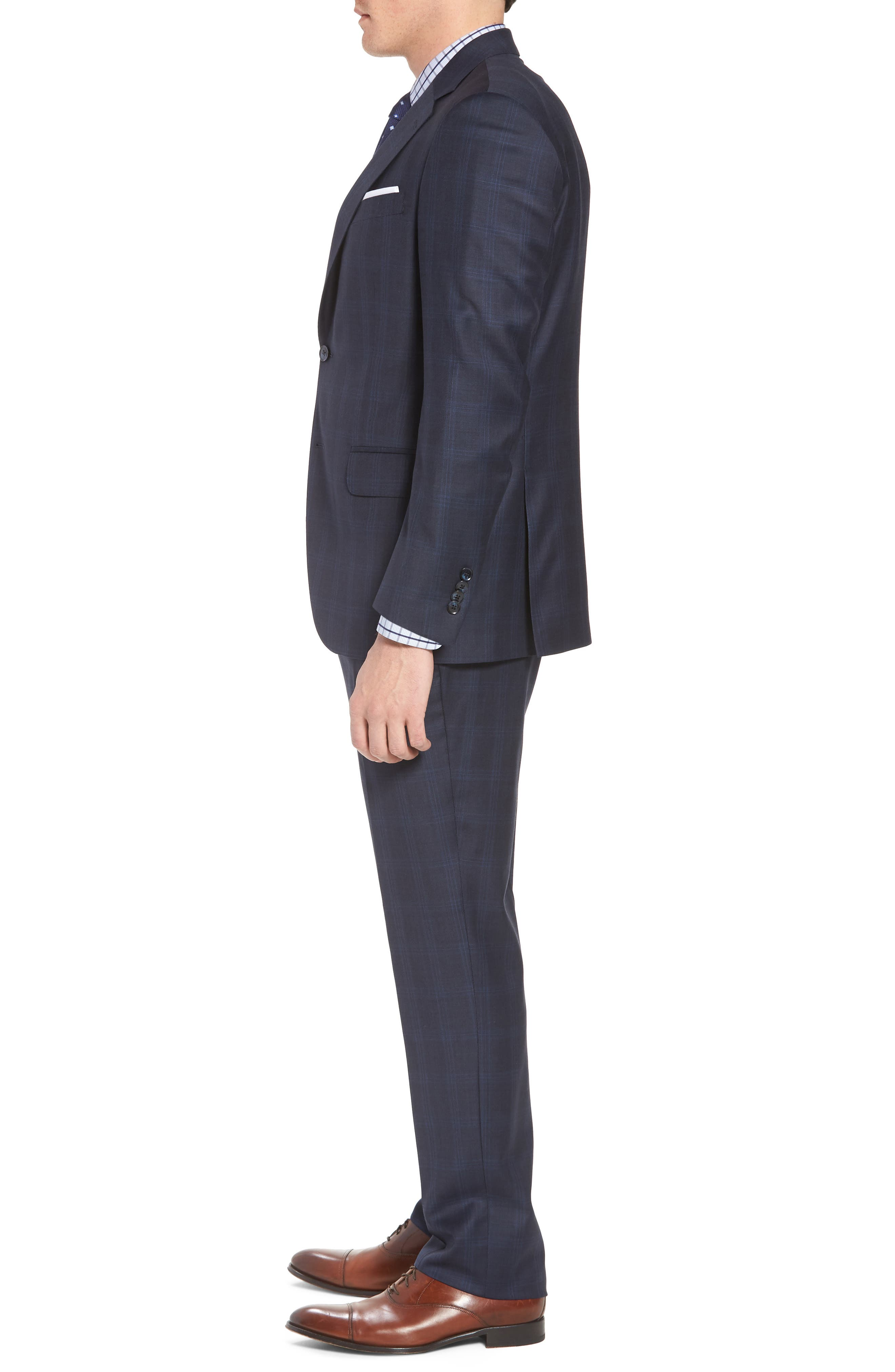 Classic Fit Plaid Wool Suit,                             Alternate thumbnail 3, color,                             Navy