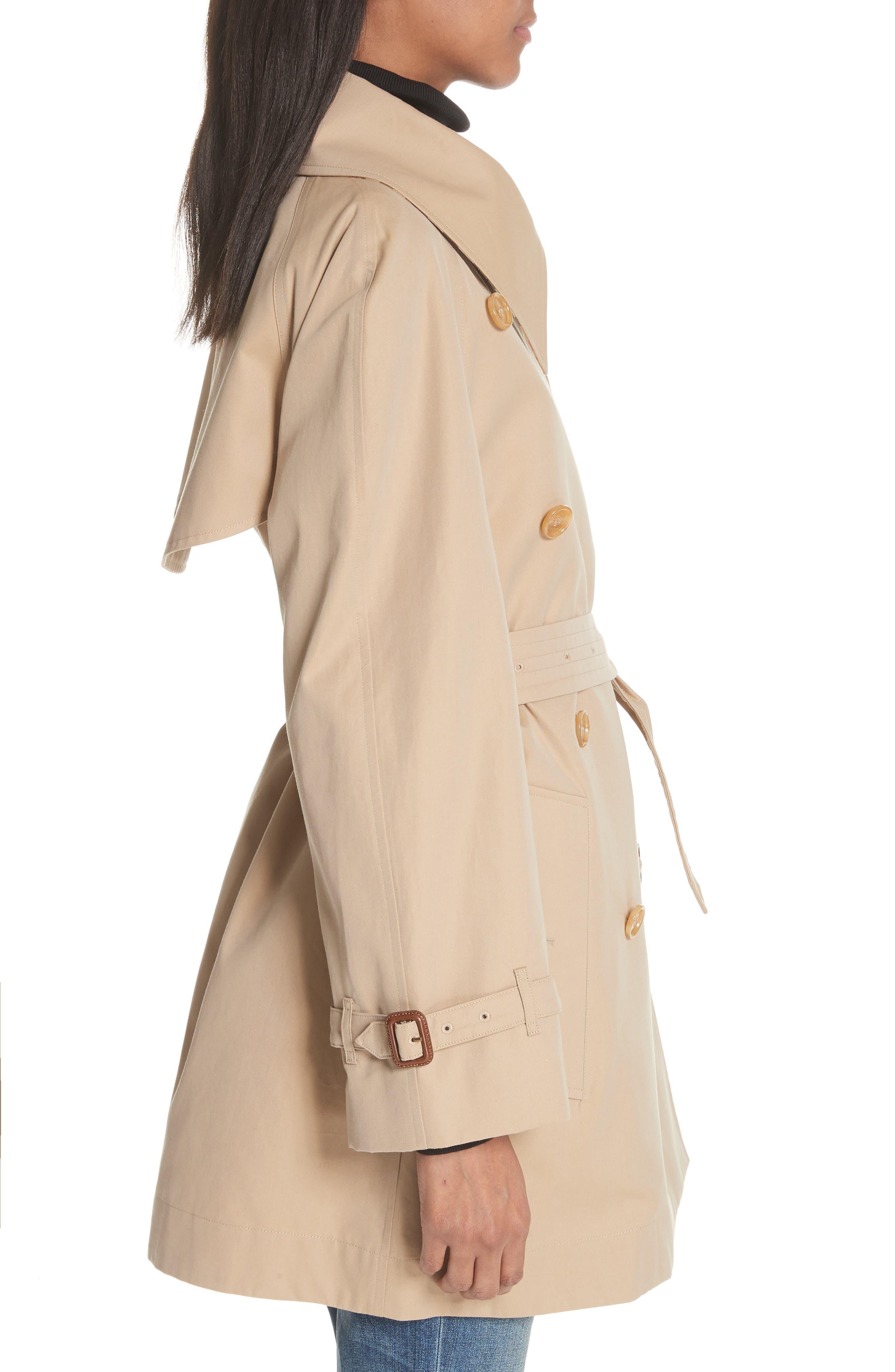 Fortingall Cotton Gabardine Trench Coat,                             Alternate thumbnail 3, color,                             Honey