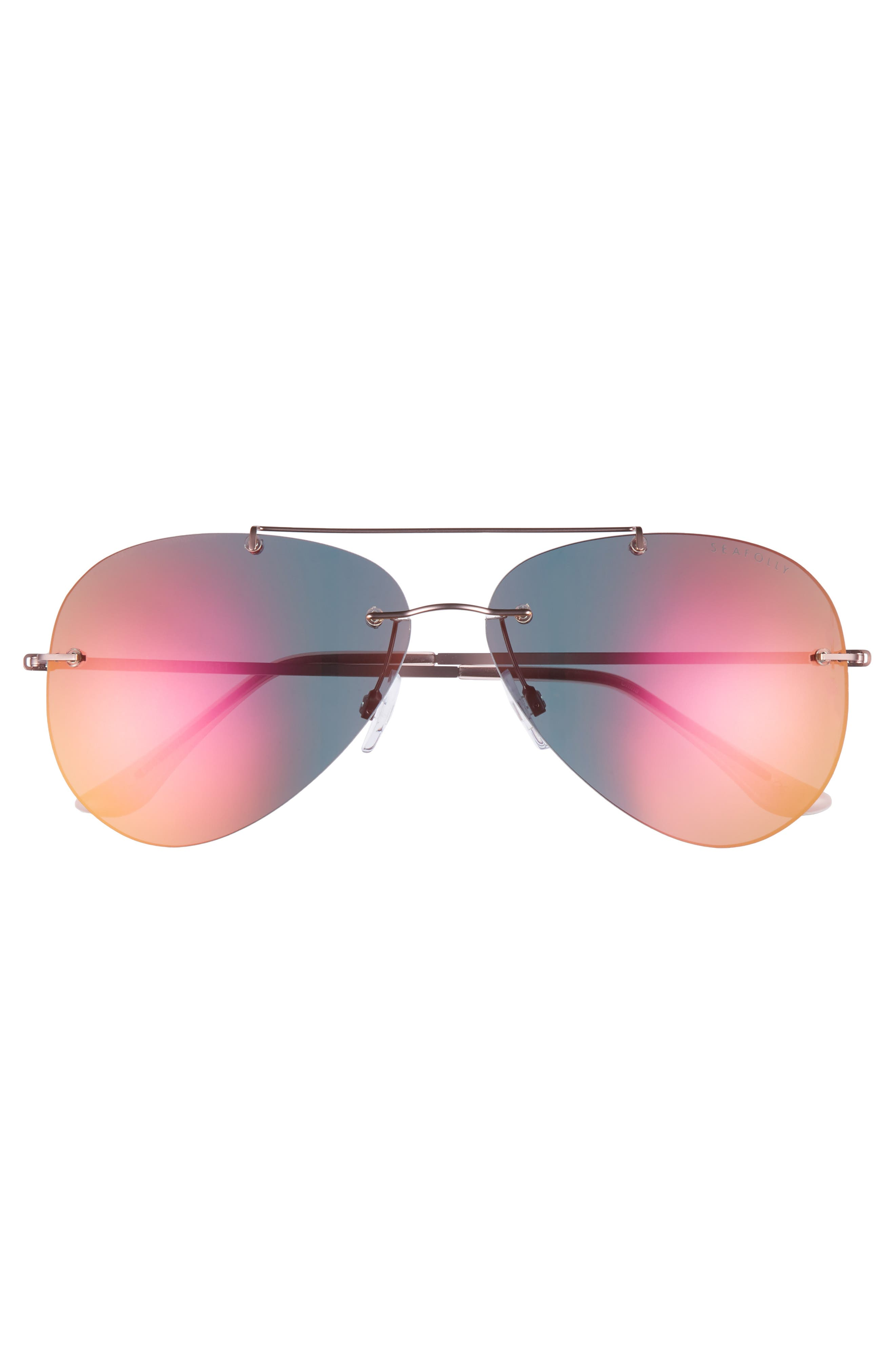 Redondo 61mm Rimless Aviator Sunglasses,                             Alternate thumbnail 3, color,                             Nectarine