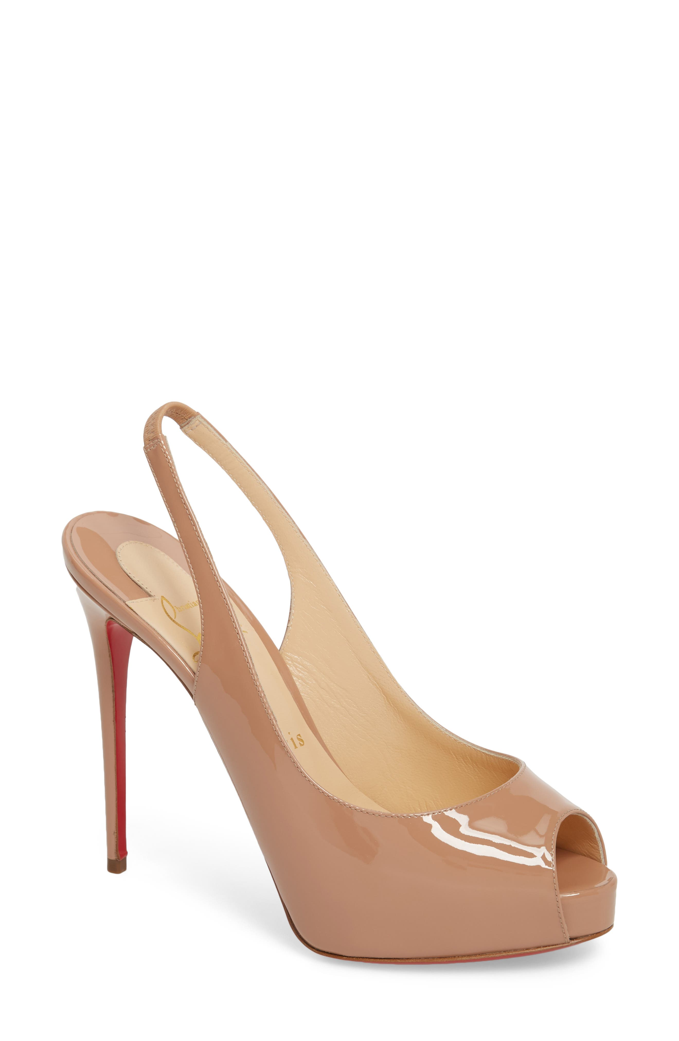Private Number Peep Toe Pump,                             Main thumbnail 1, color,                             Nude