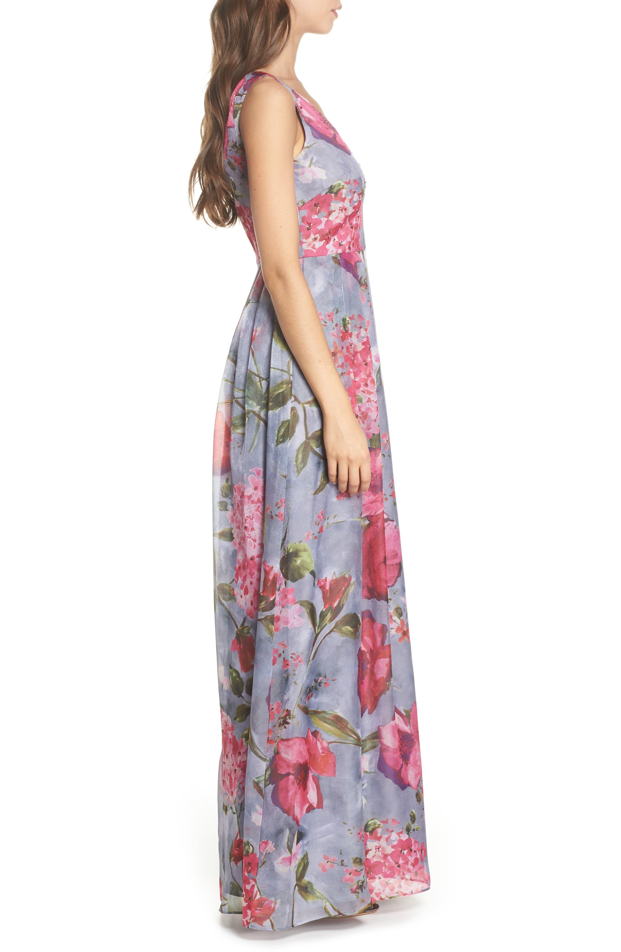 Flower Print Organza Gown,                             Alternate thumbnail 3, color,                             Dove Grey Multi