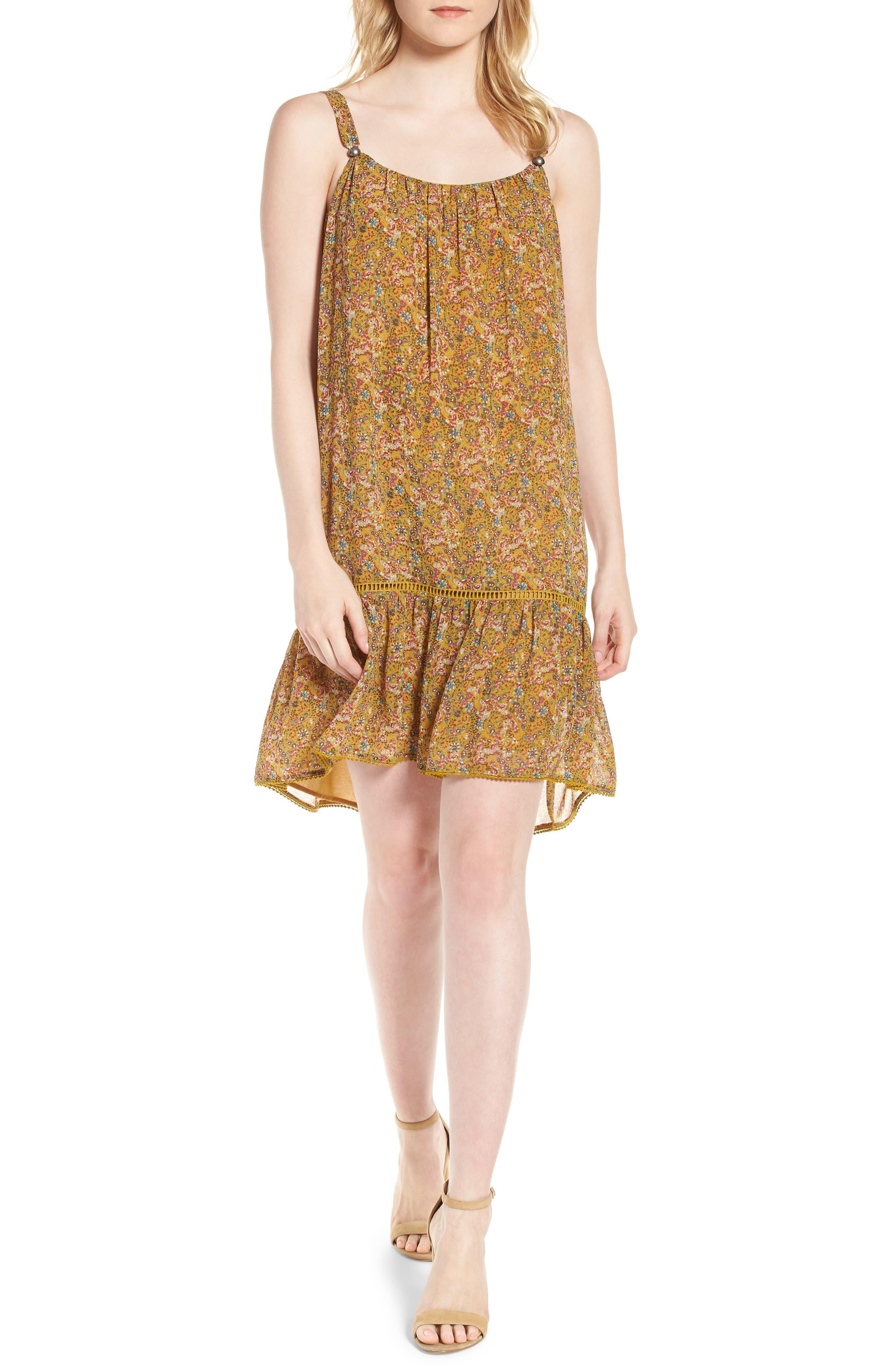 Madison Floral Sundress,                             Main thumbnail 1, color,                             Yellow Multi