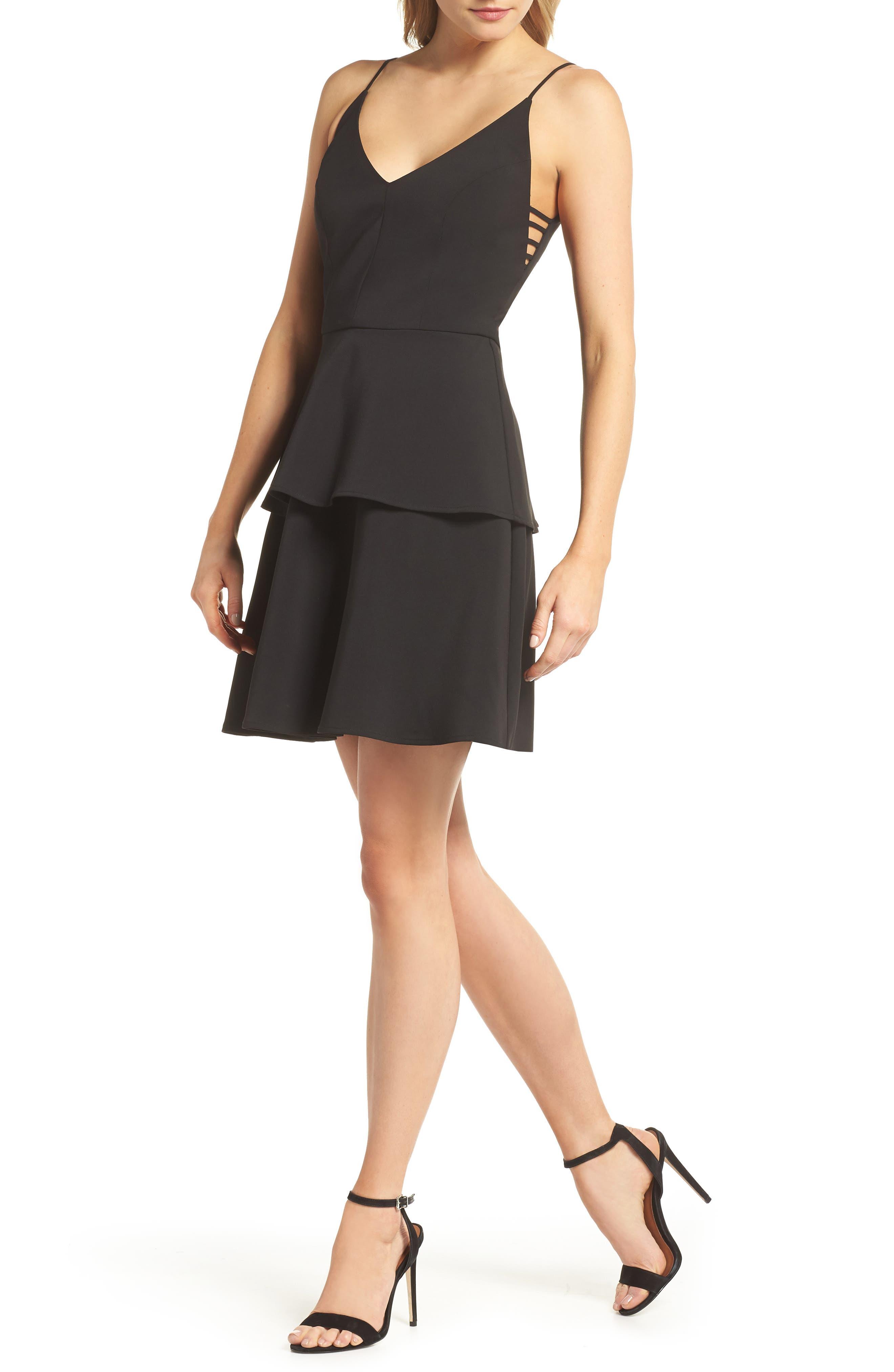 Tamika Sleeveless Fit & Flare Dress,                             Main thumbnail 1, color,                             Black