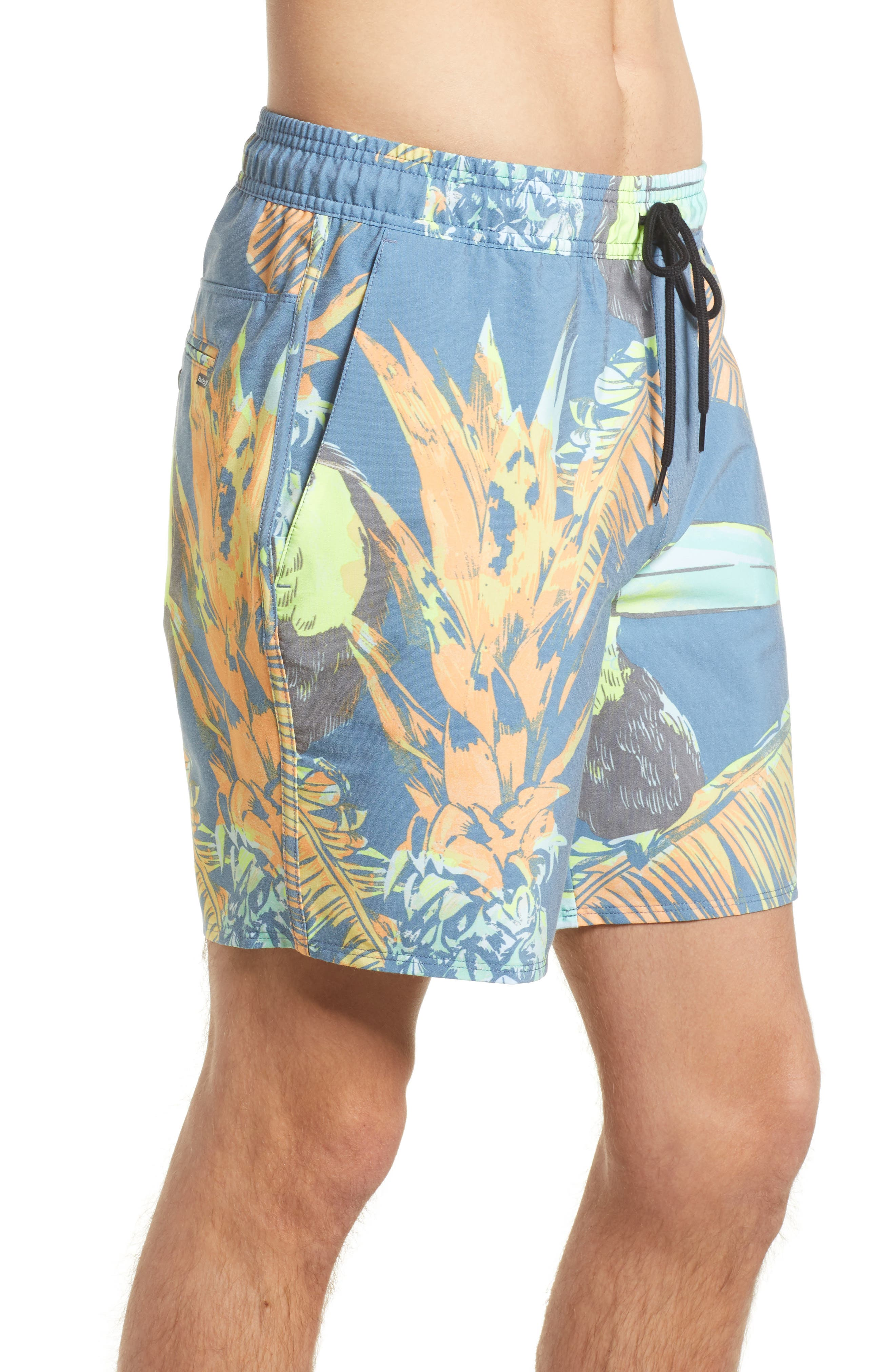Paradise Volley Board Shorts,                             Alternate thumbnail 4, color,                             Blue Force