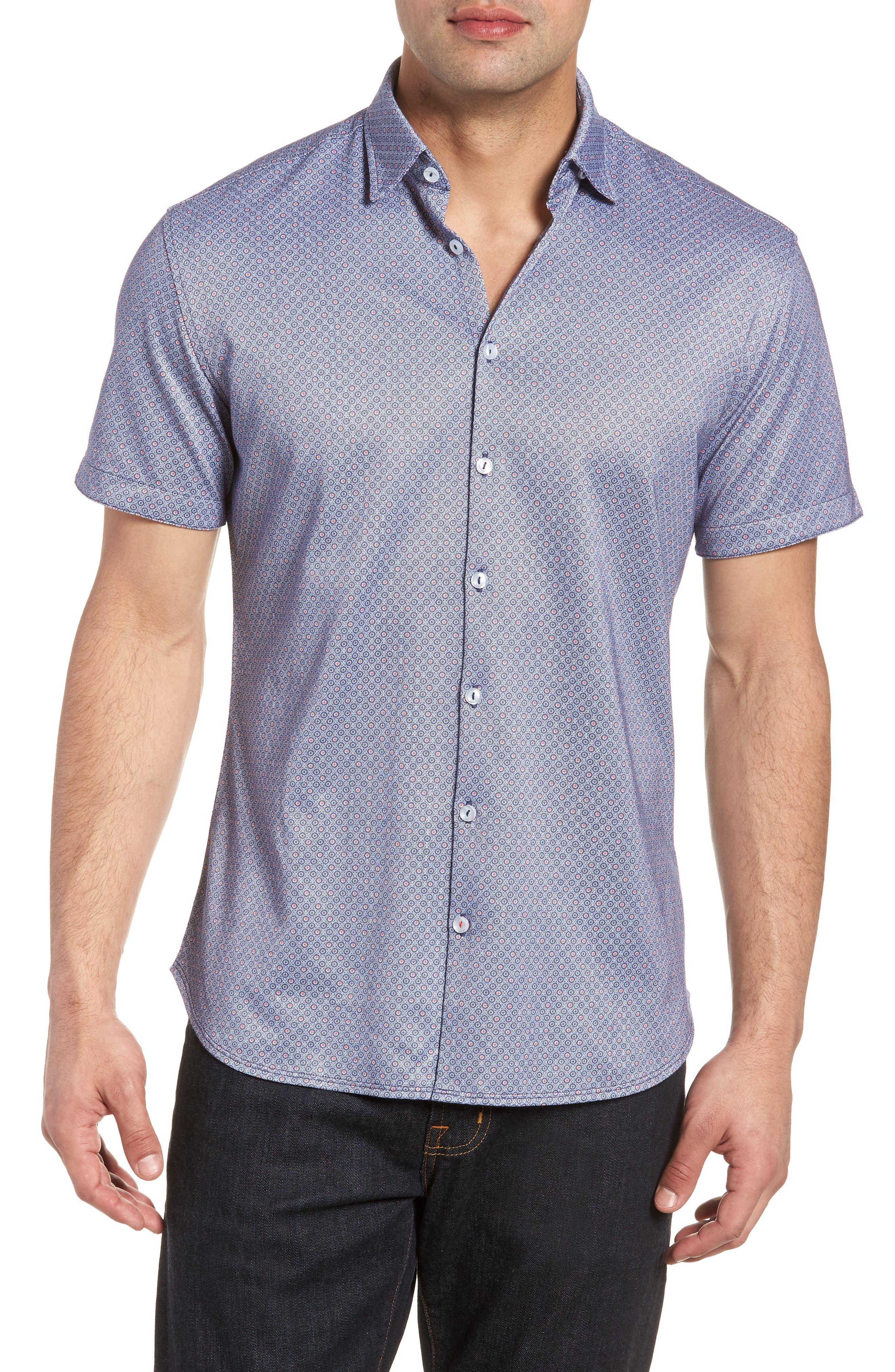 Contemporary Fit Geo Tech Sport Shirt,                         Main,                         color, Navy