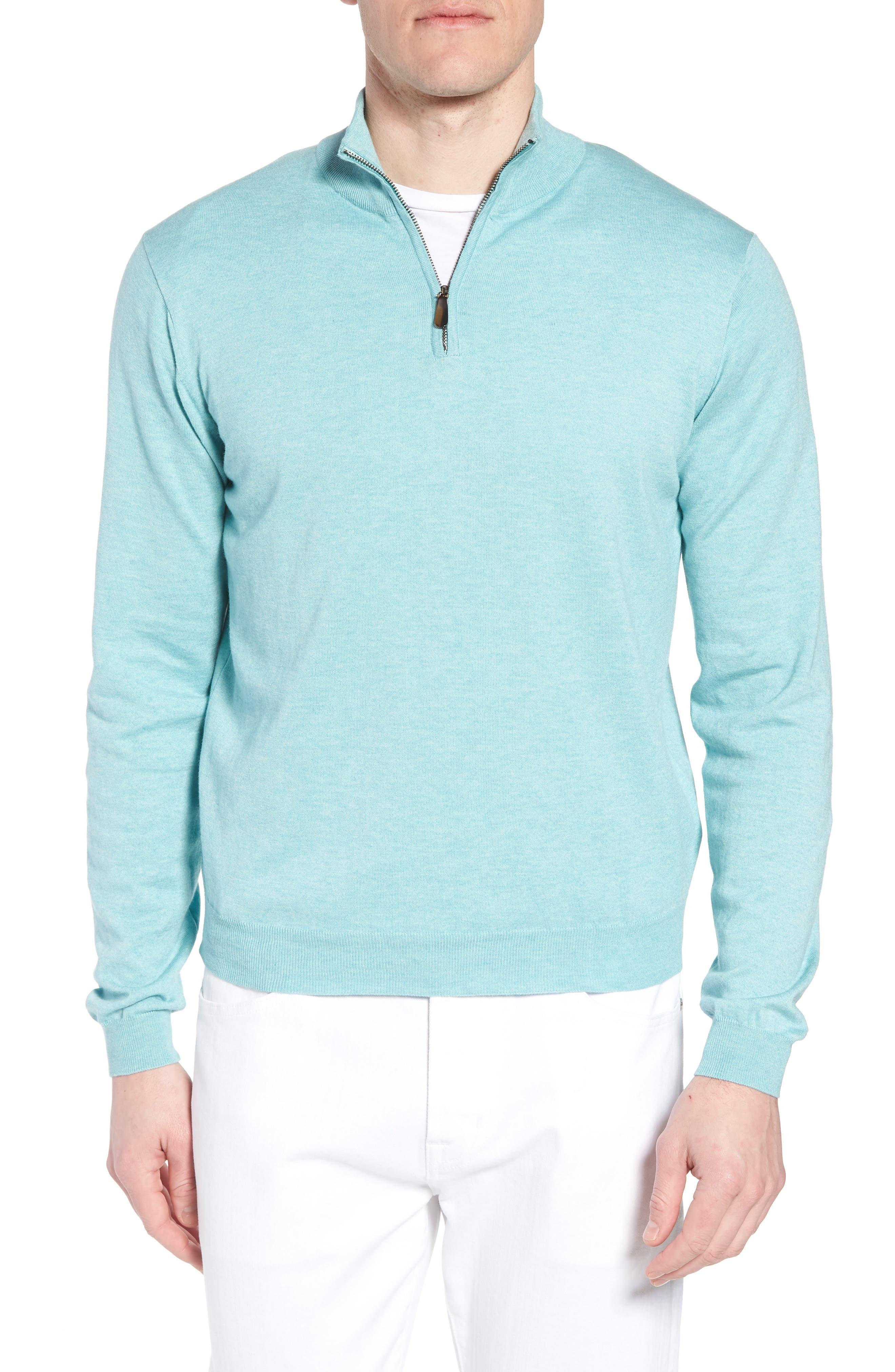 Cotton & Silk Quarter Zip Pullover,                         Main,                         color, Seafoam