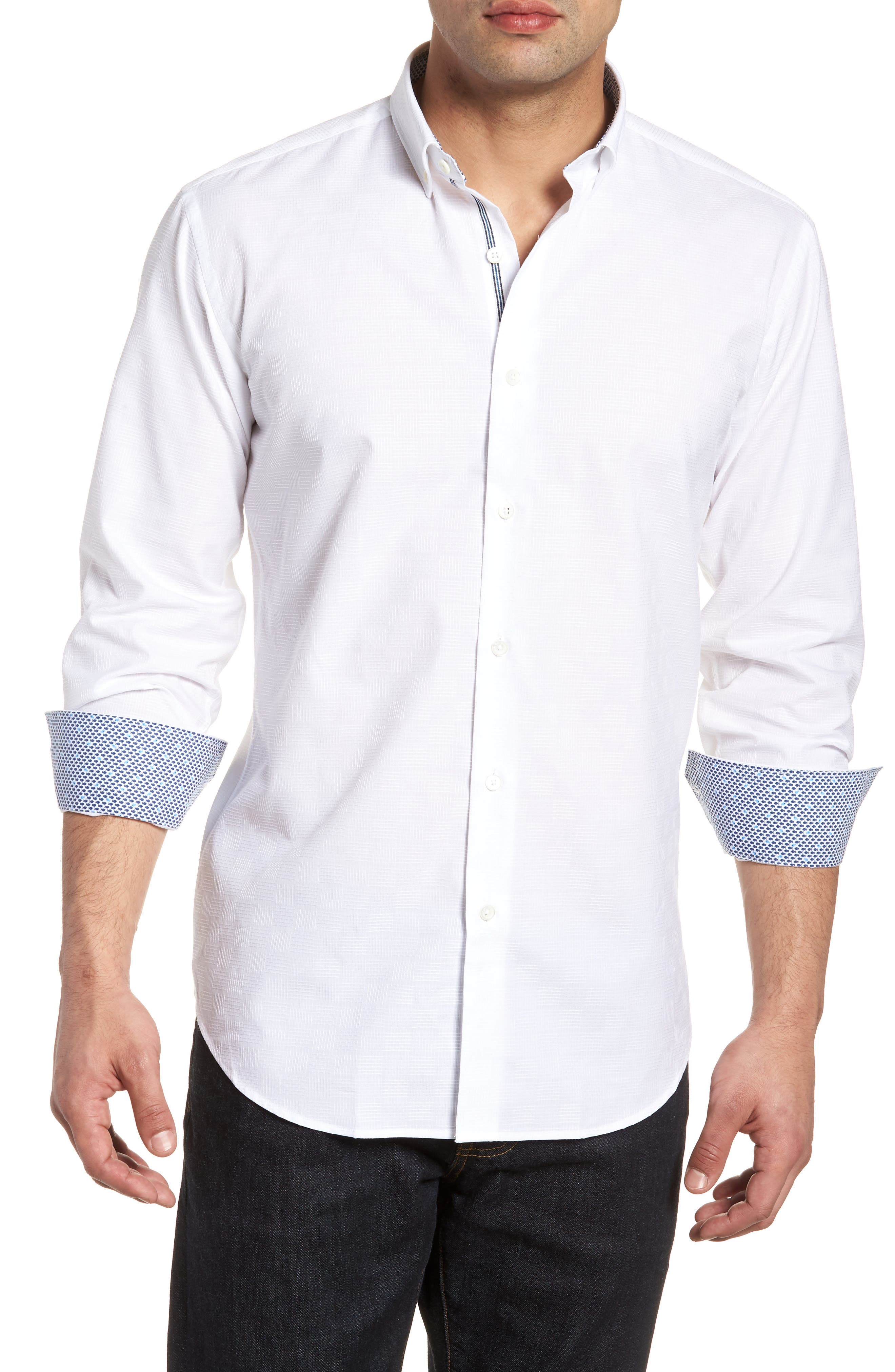 Woven Sport Shirt,                         Main,                         color, White