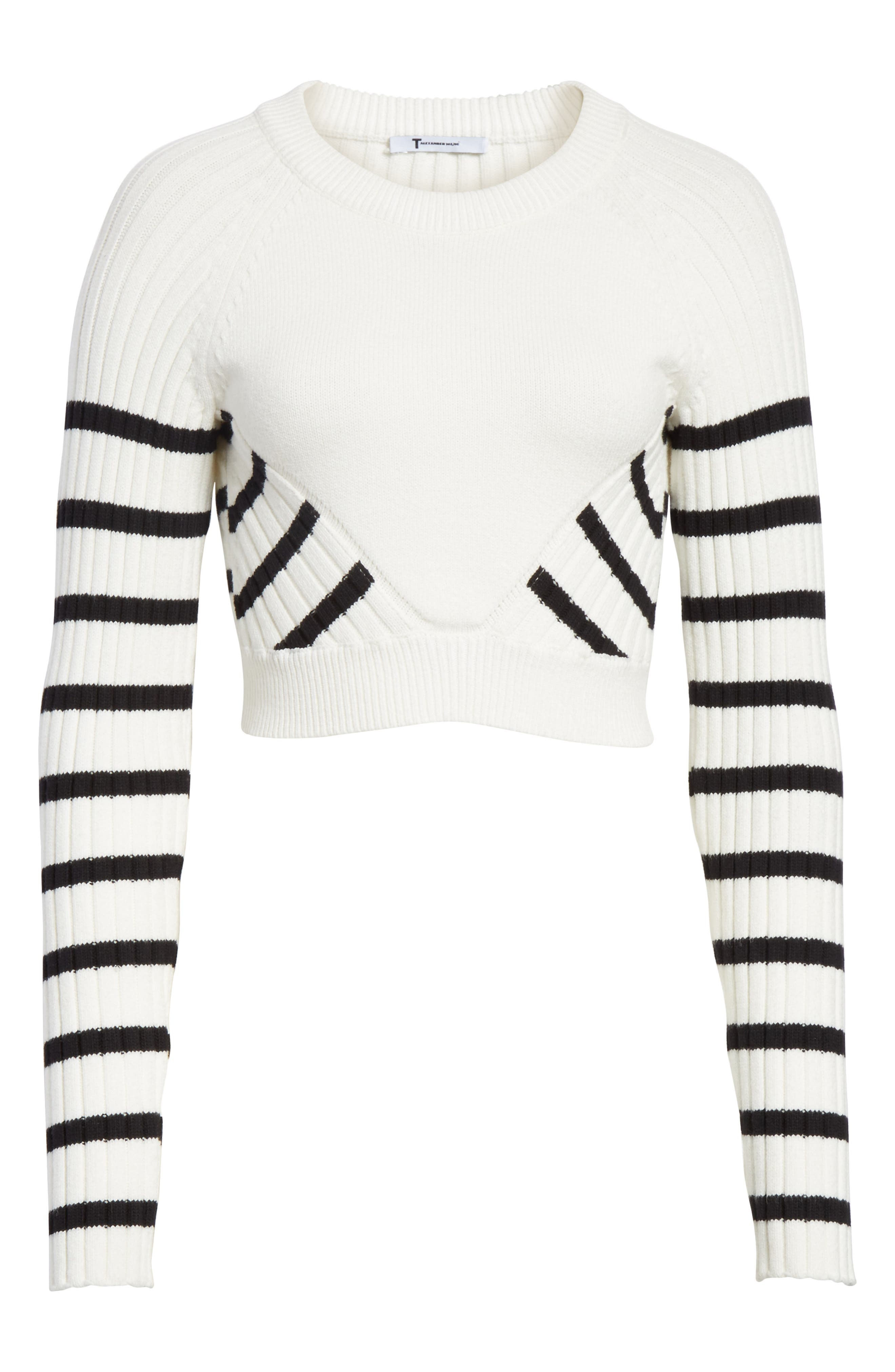 Multistripe Crop Sweater,                             Alternate thumbnail 6, color,                             White/ Black
