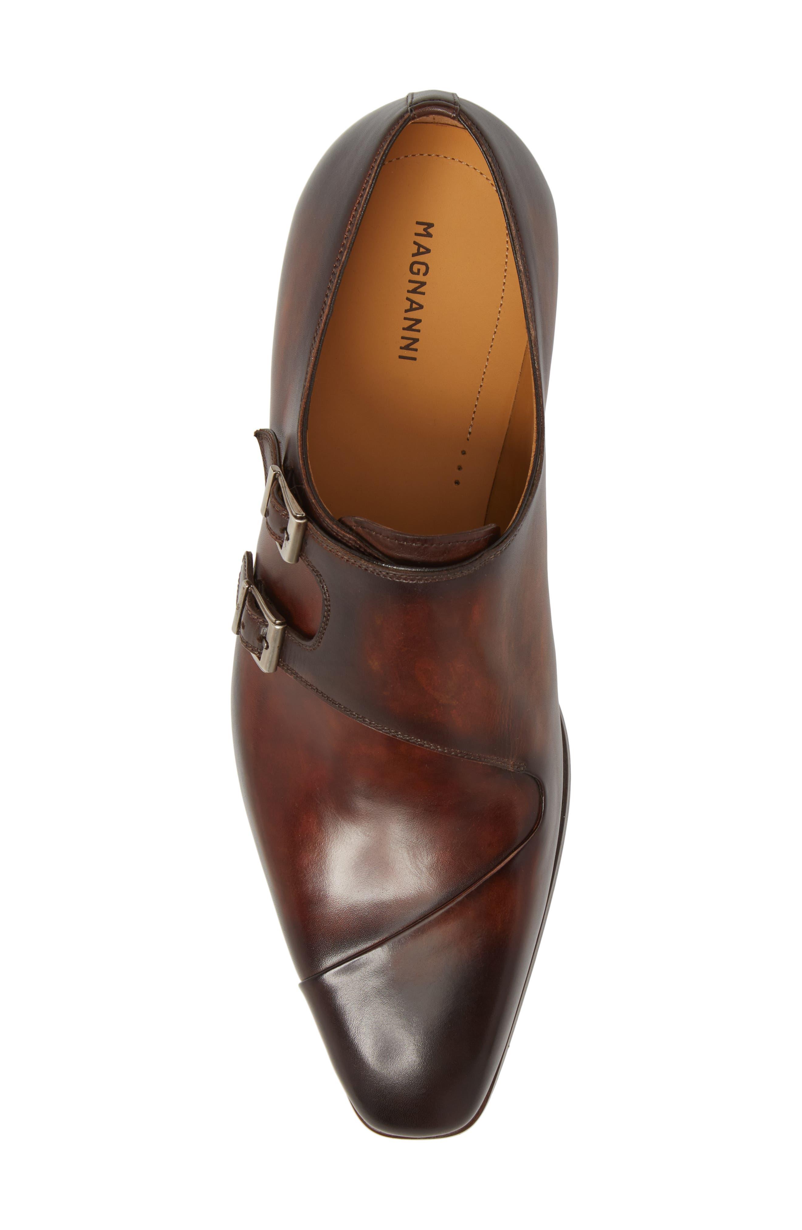 Hafiz Double Strap Monk Shoe,                             Alternate thumbnail 5, color,                             Tabaco Leather