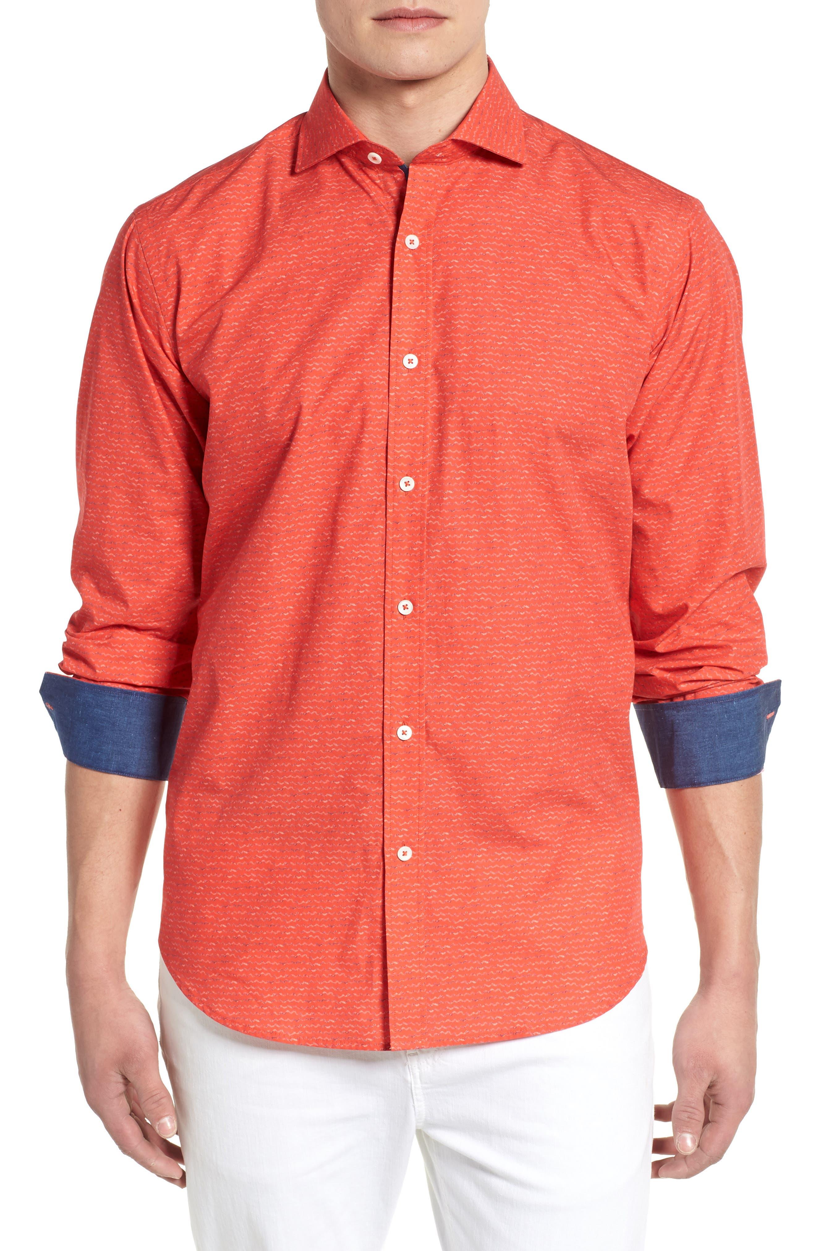 Classic Fit Woven Sport Shirt,                             Main thumbnail 1, color,                             Cherry