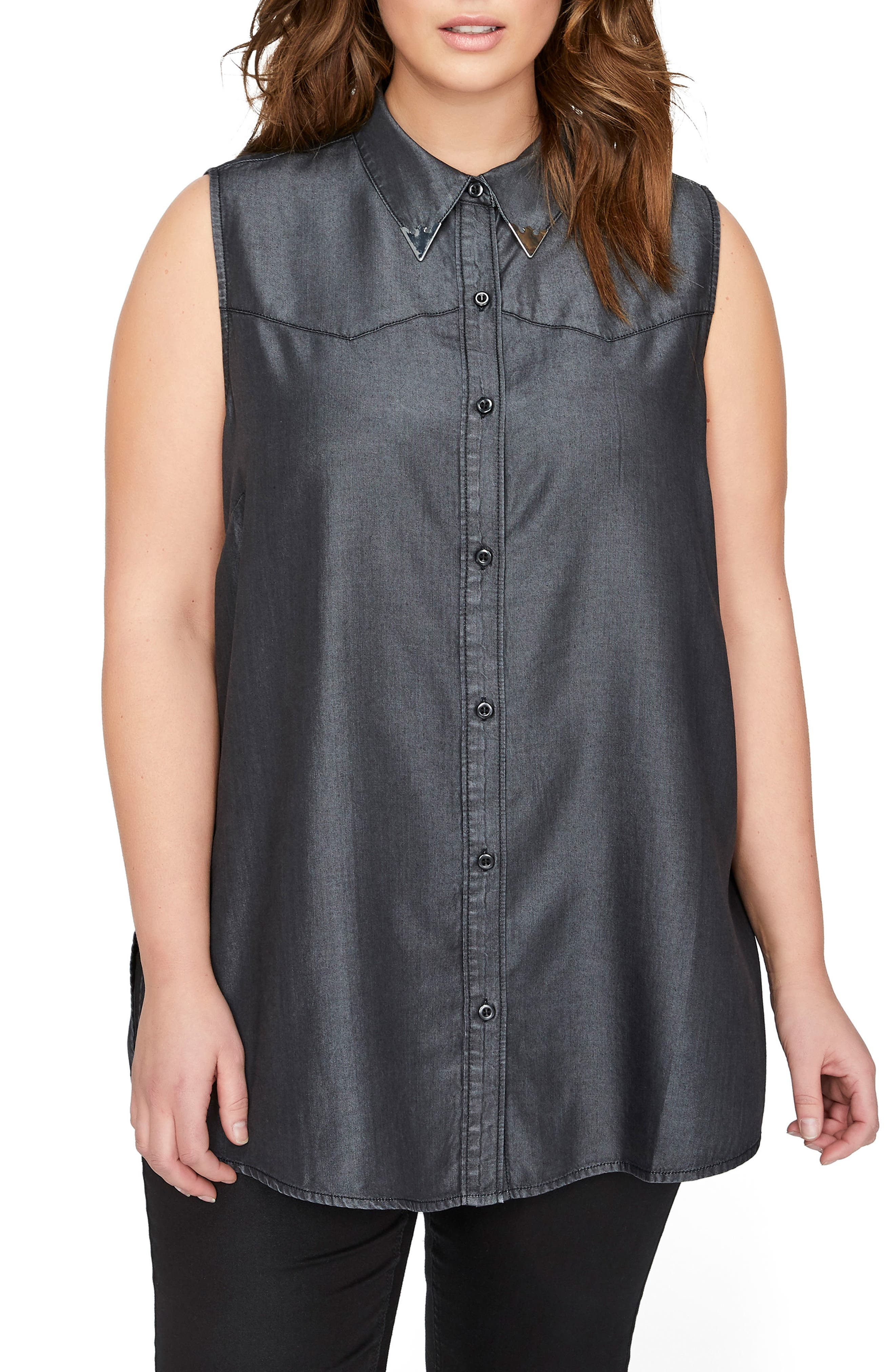 ADDITION ELLE LOVE AND LEGEND Ruffle Back Western Shirt (Plus Size)