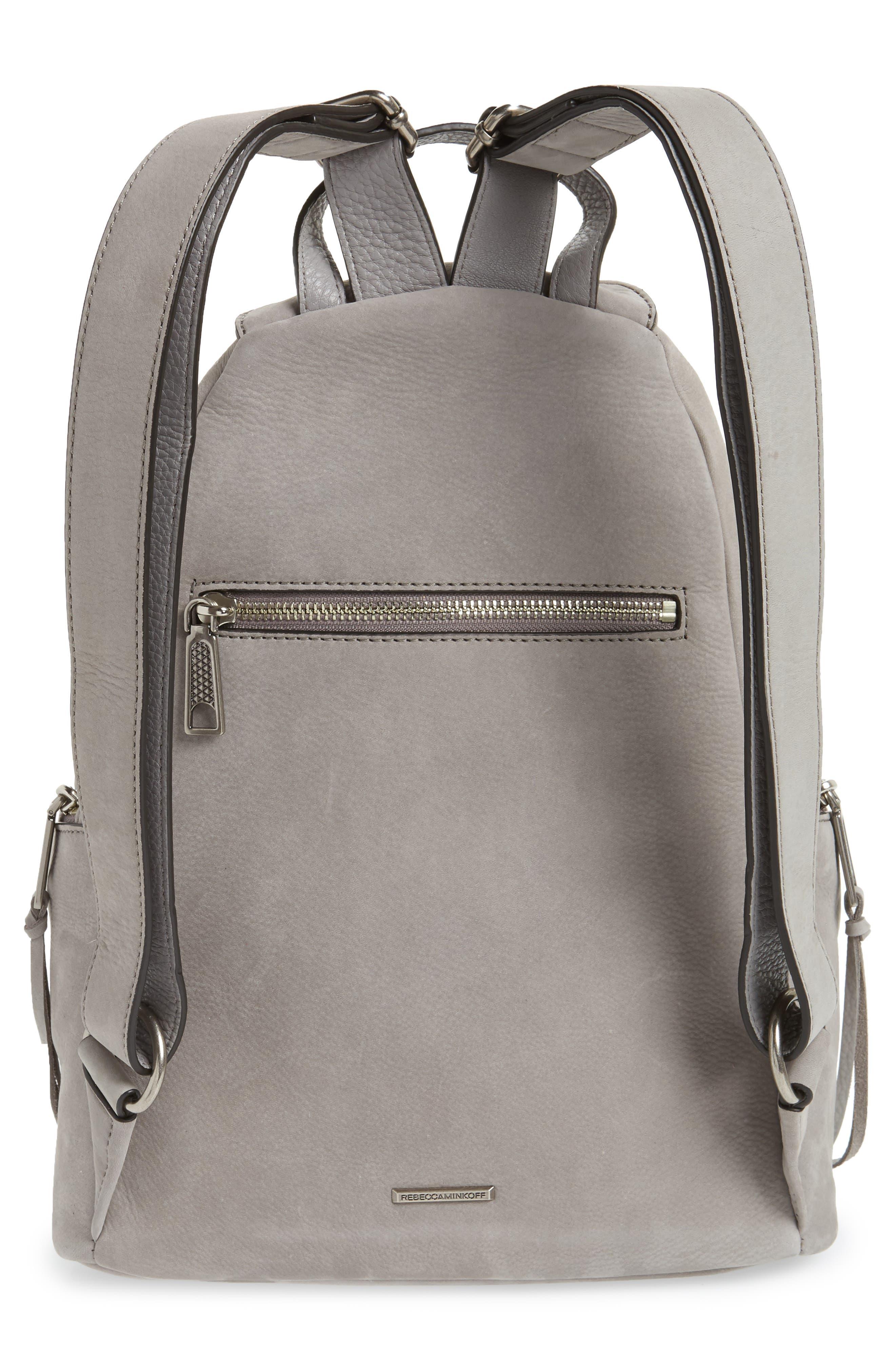 Julian Nubuck Leather Backpack,                             Alternate thumbnail 3, color,                             Grey