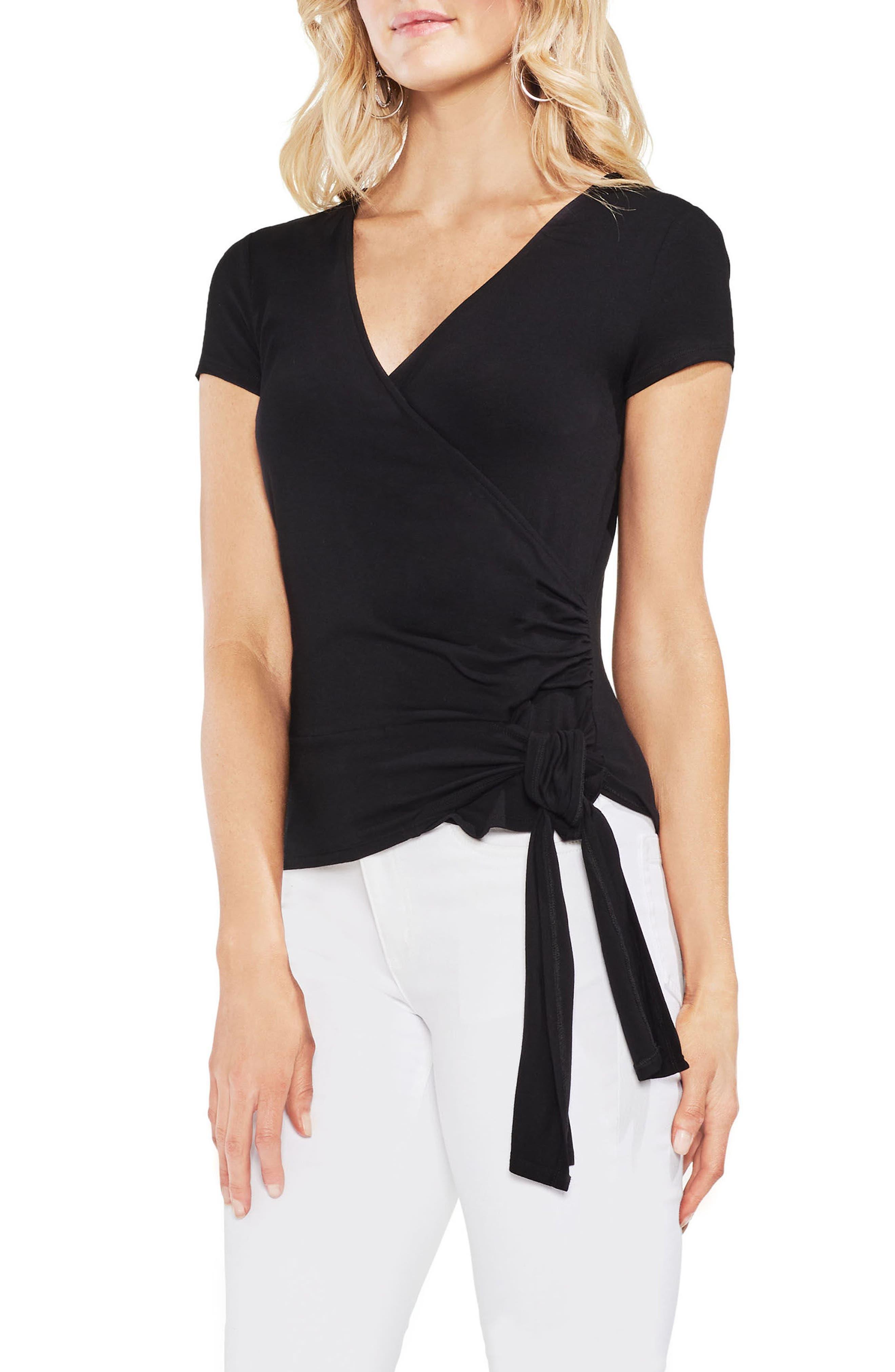 Faux Wrap Tie Hem Top,                         Main,                         color, Rich Black