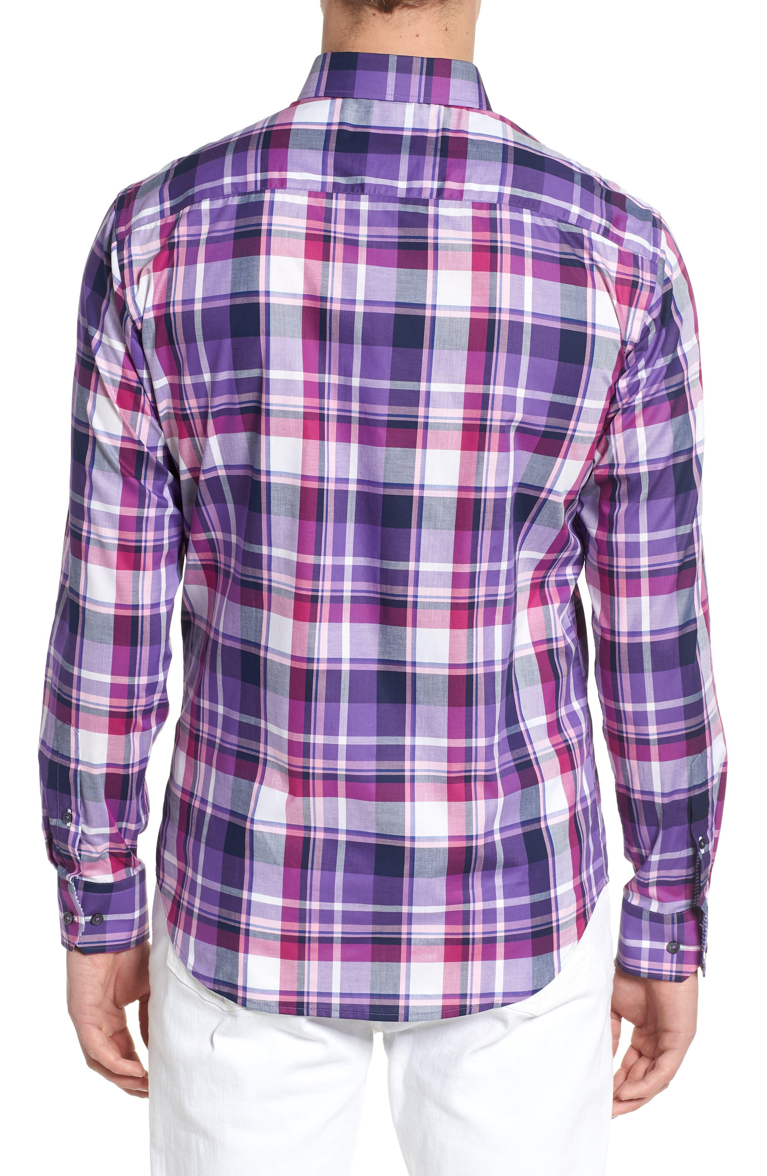 Shaped Fit Check Sport Shirt,                             Alternate thumbnail 2, color,                             Grape