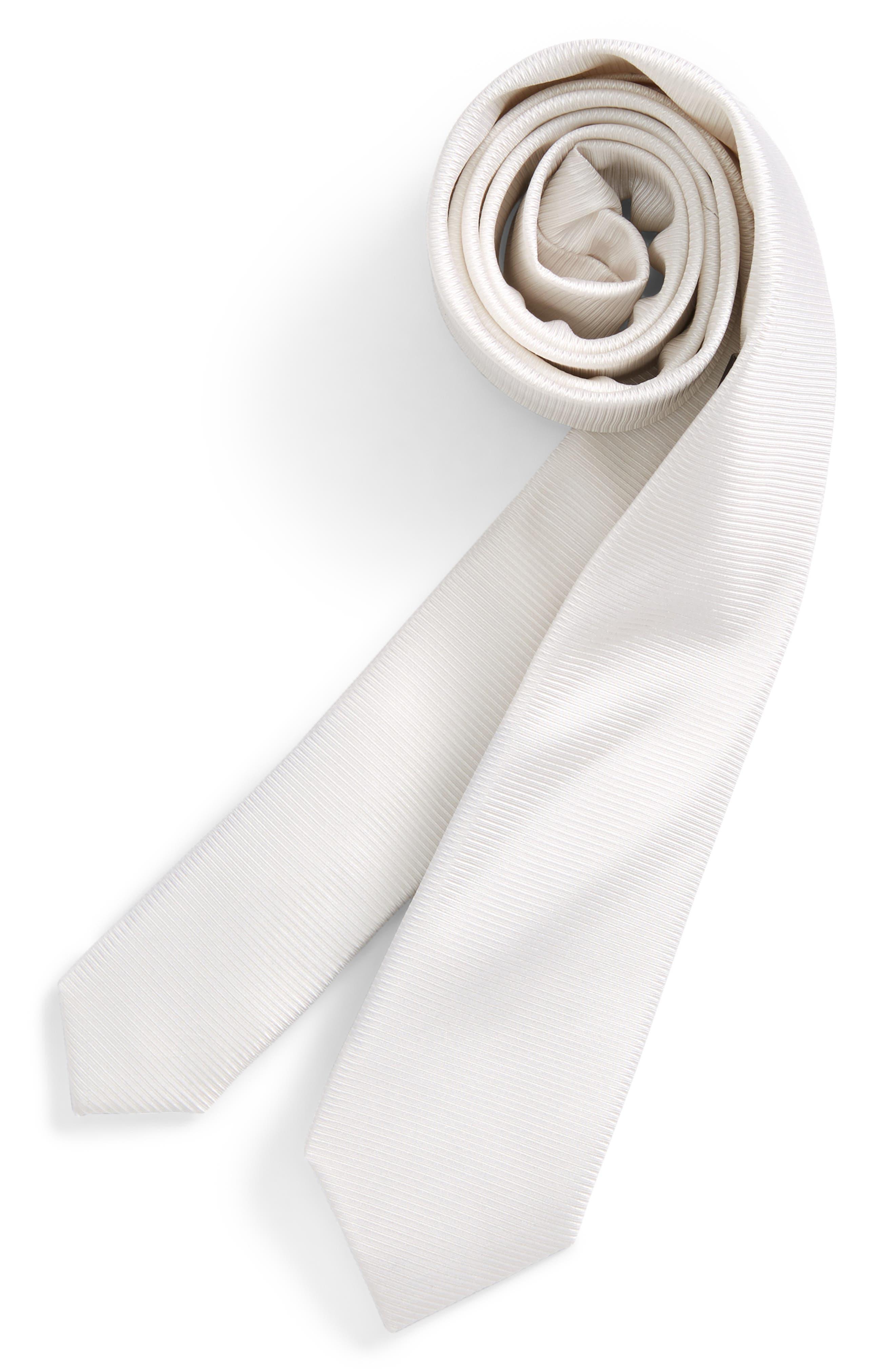 Natte Solid Silk Tie,                         Main,                         color, White