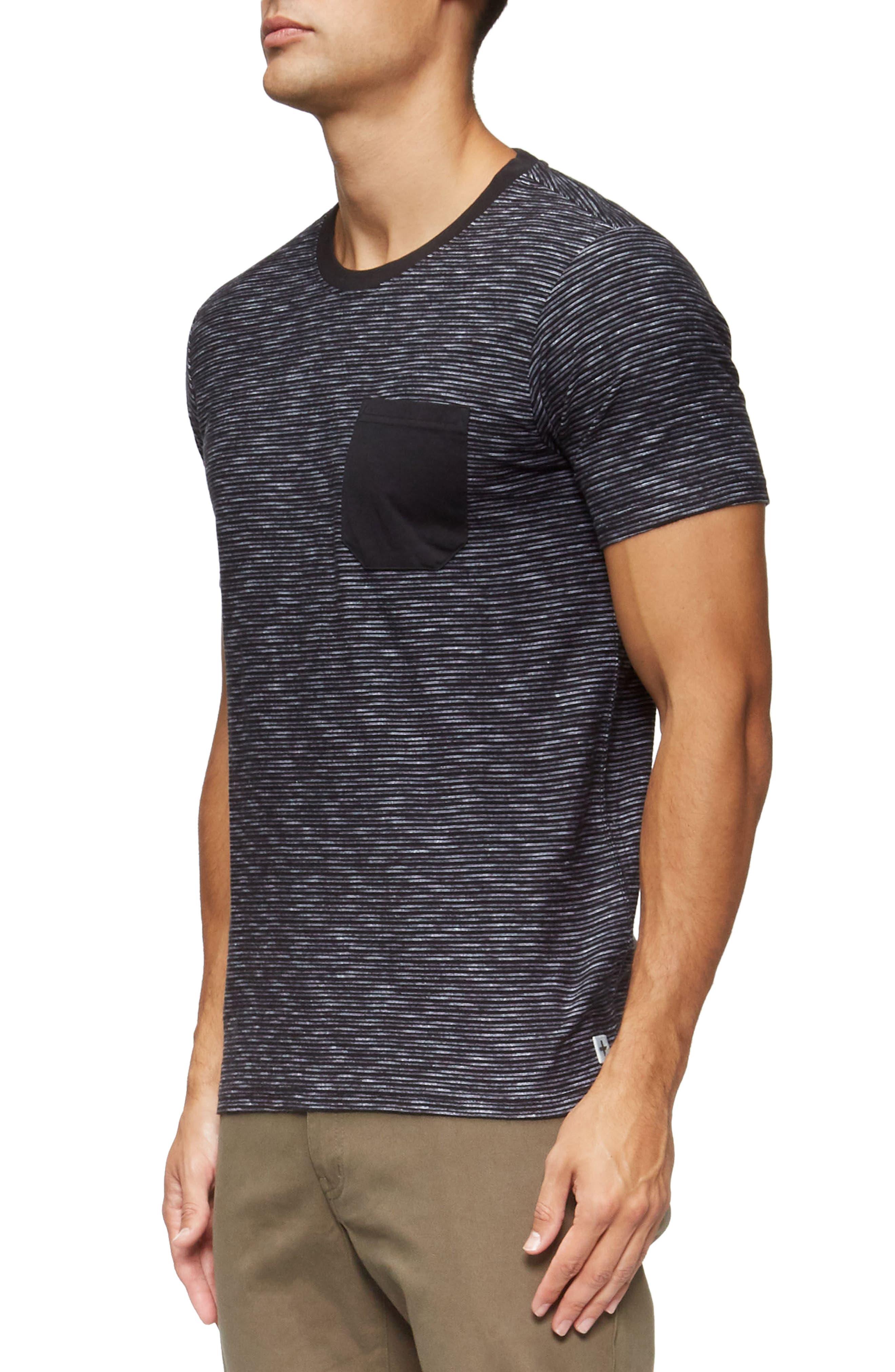 Redondo Stripe Pocket T-Shirt,                             Alternate thumbnail 3, color,                             Black/ White Stripe