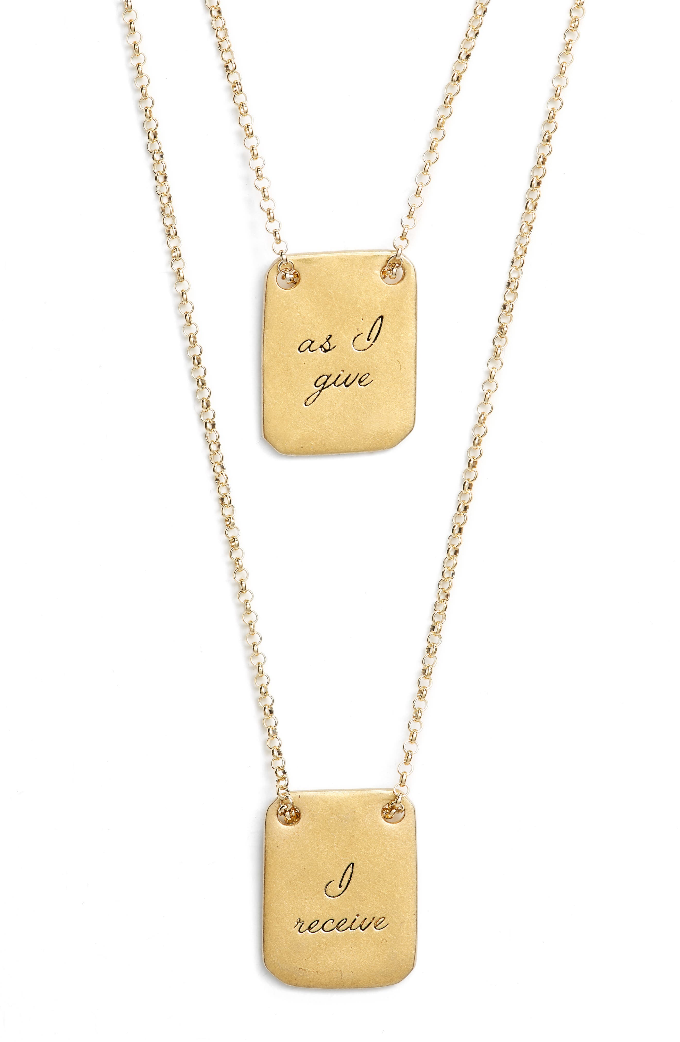 As I Give I Receive Layered Necklace,                             Alternate thumbnail 3, color,                             Gold