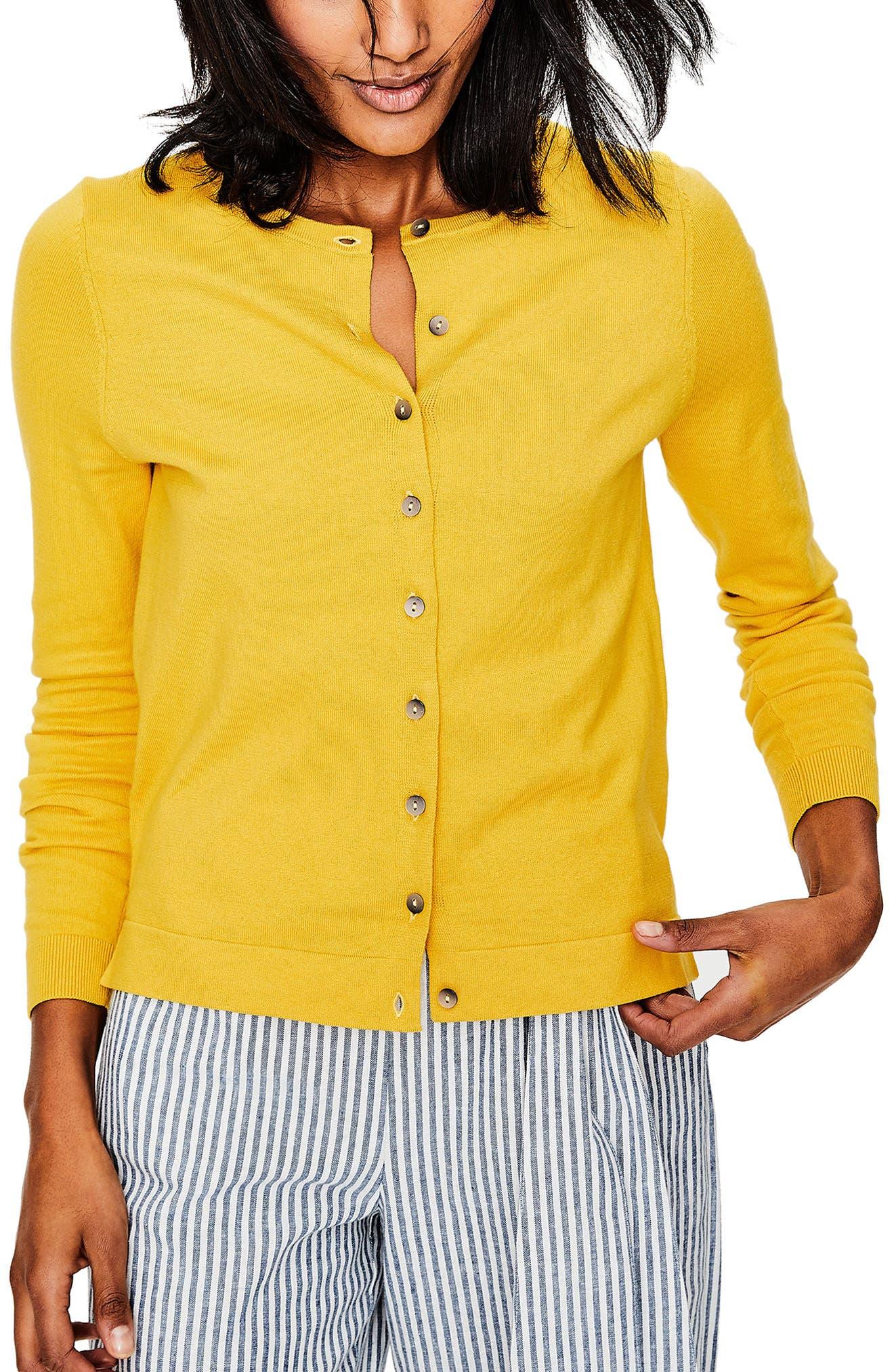 Crewneck Cardigan,                         Main,                         color, Mimosa Yellow