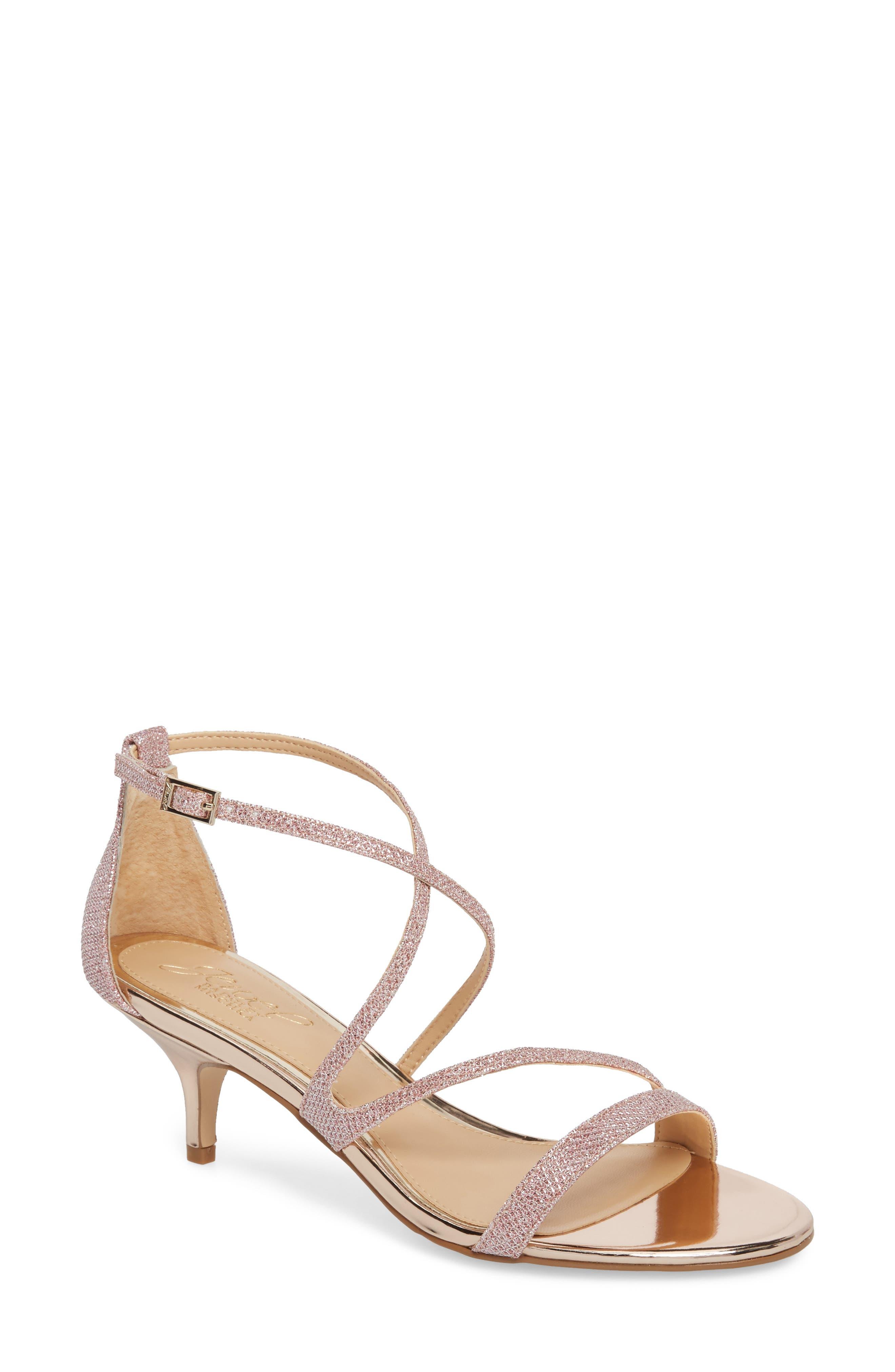 Gal Glitter Kitten Heel Sandal,                             Main thumbnail 1, color,                             Rose Gold Glitter Fabric