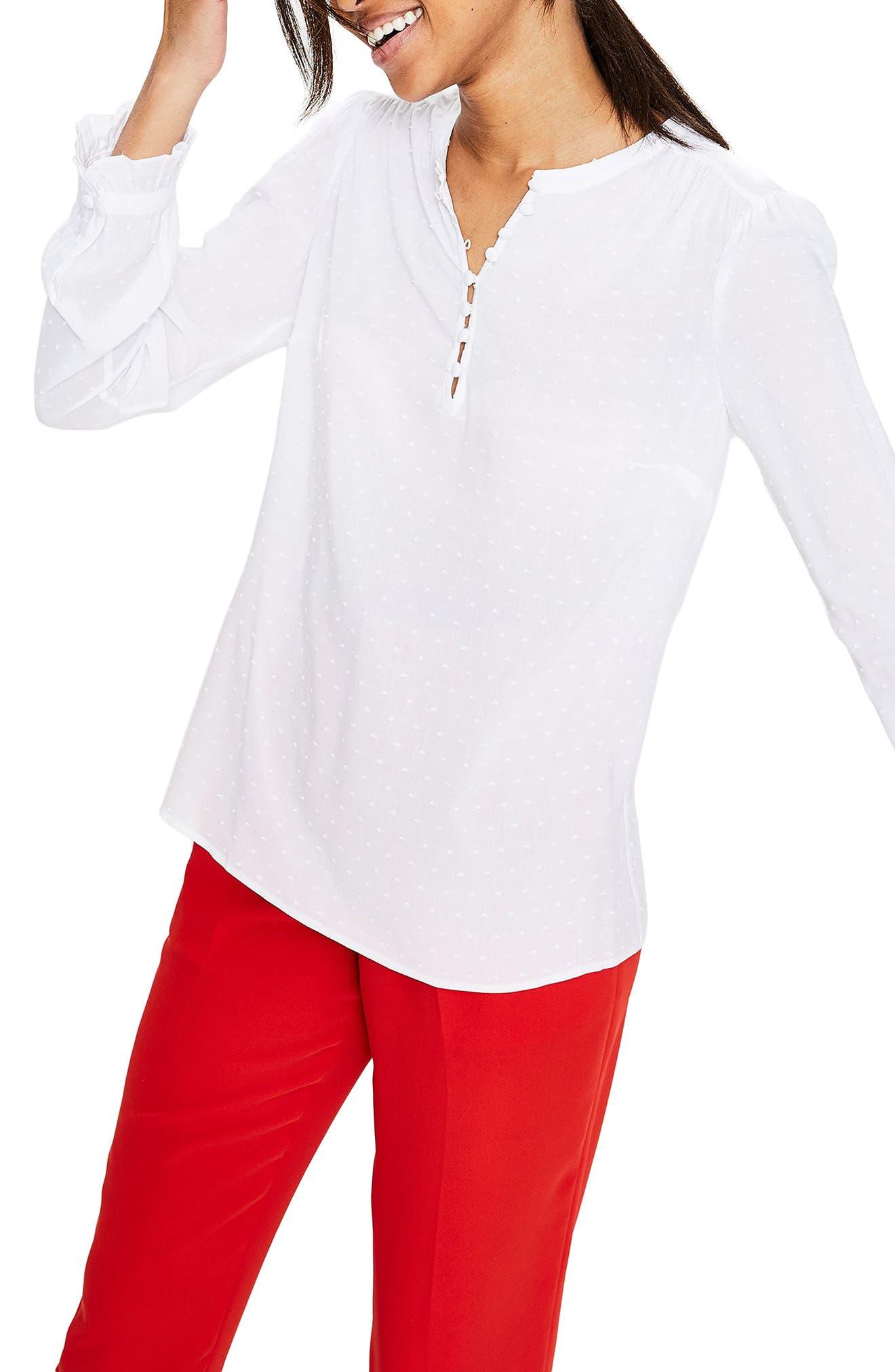 Rouleau Ruffle Top,                         Main,                         color, White