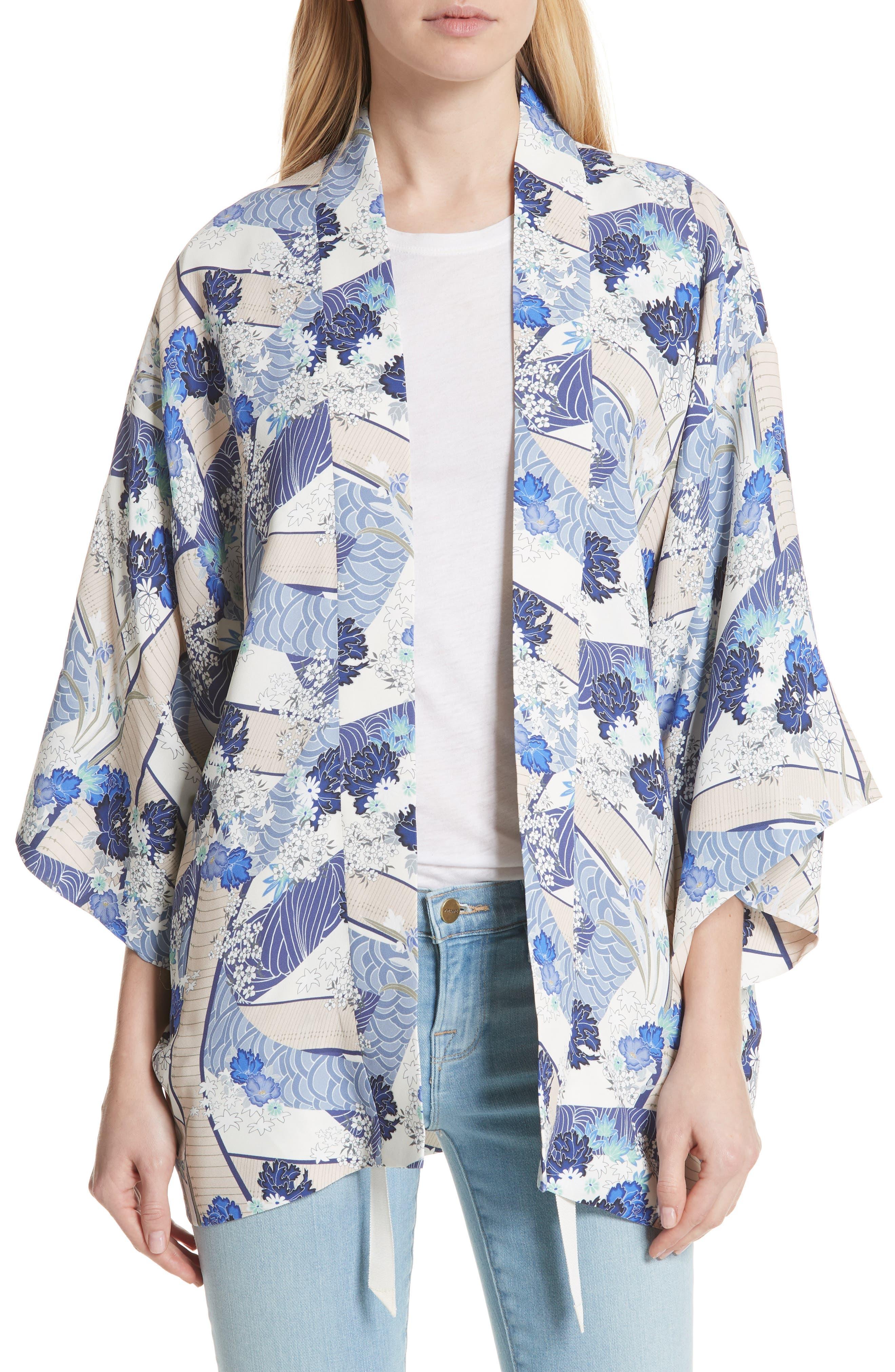 Drew Floral Print Kimono Jacket,                             Main thumbnail 1, color,                             Blue Floral
