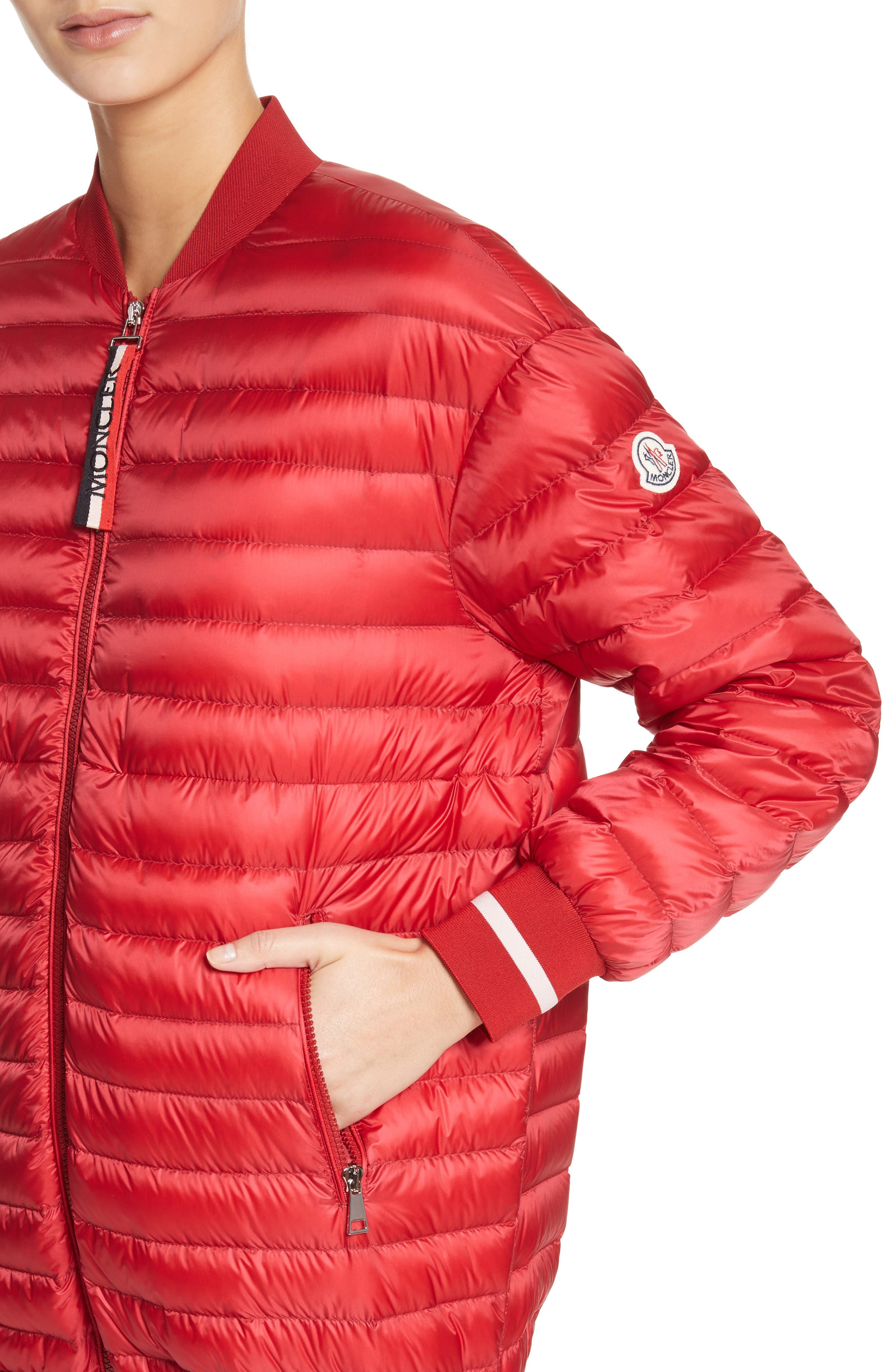 Charoite Water Resistant Down Puffer Coat,                             Alternate thumbnail 6, color,                             Red