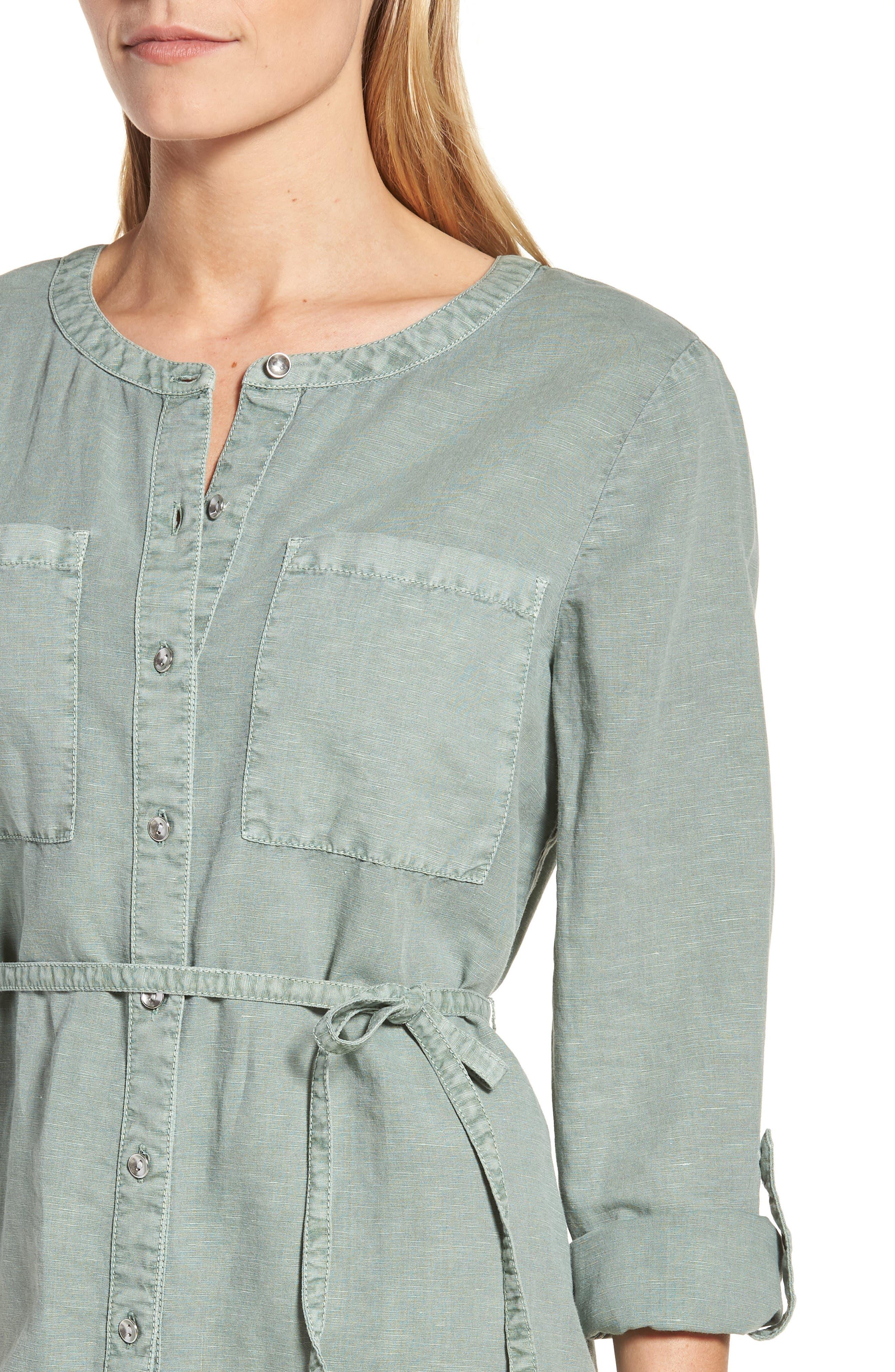 Linen Cotton Shirtdress,                             Alternate thumbnail 4, color,                             Green Lilypad