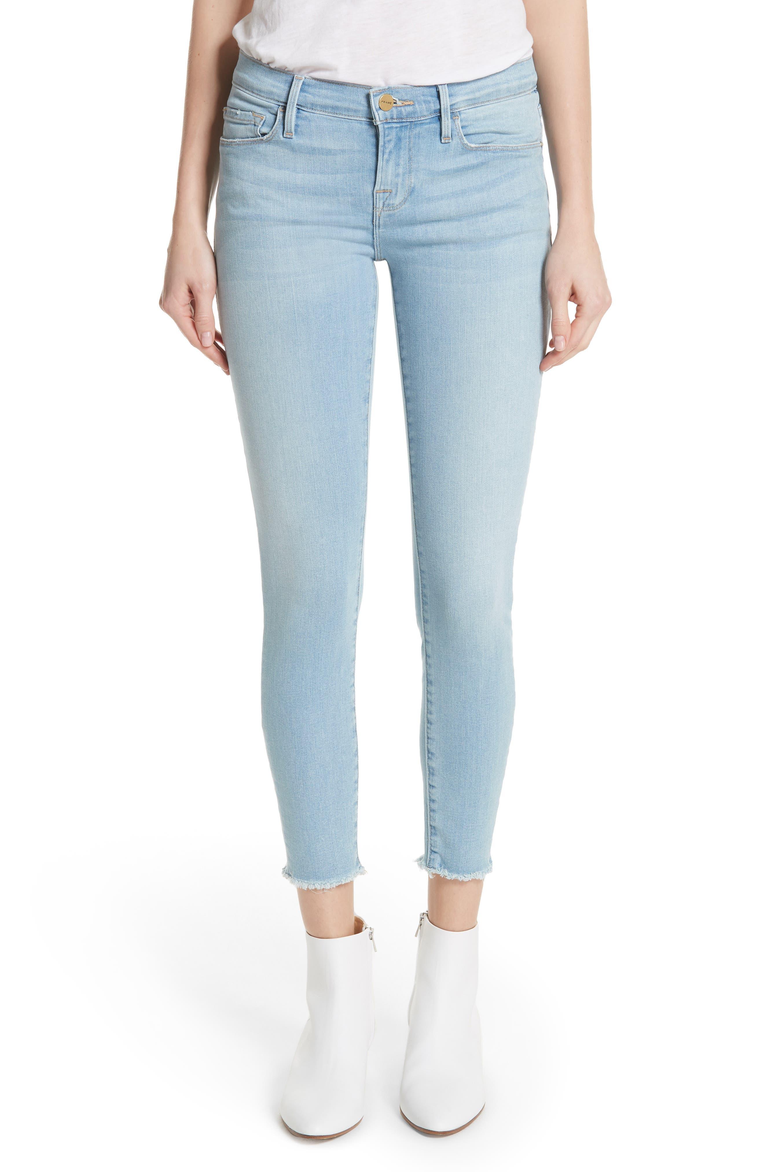 Main Image - FRAME Le Skinny de Jeanne Raw Hem Crop Skinny Jeans (Jerome)
