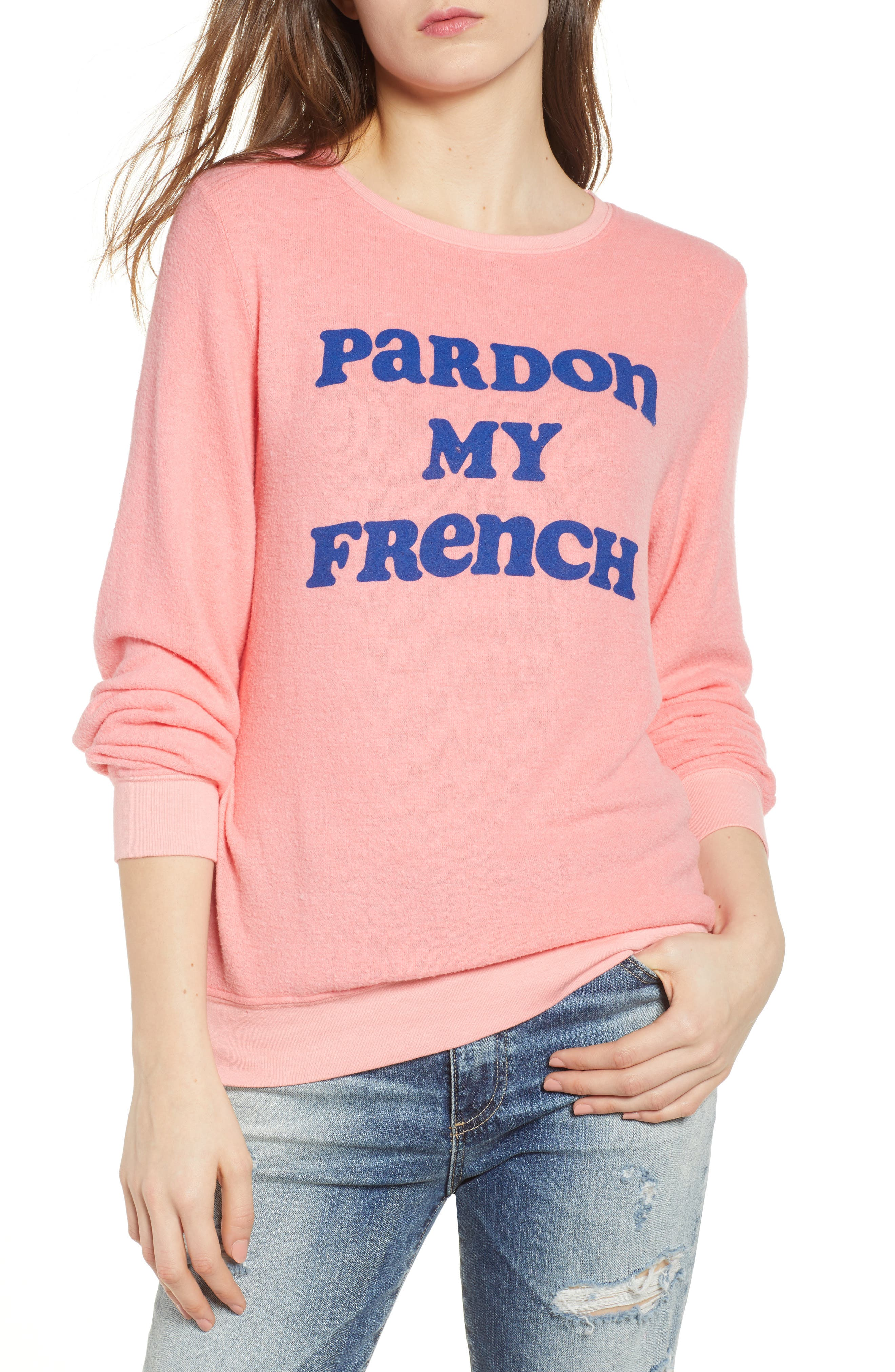 Pardon My French Sweatshirt,                             Main thumbnail 1, color,                             Peach Crush