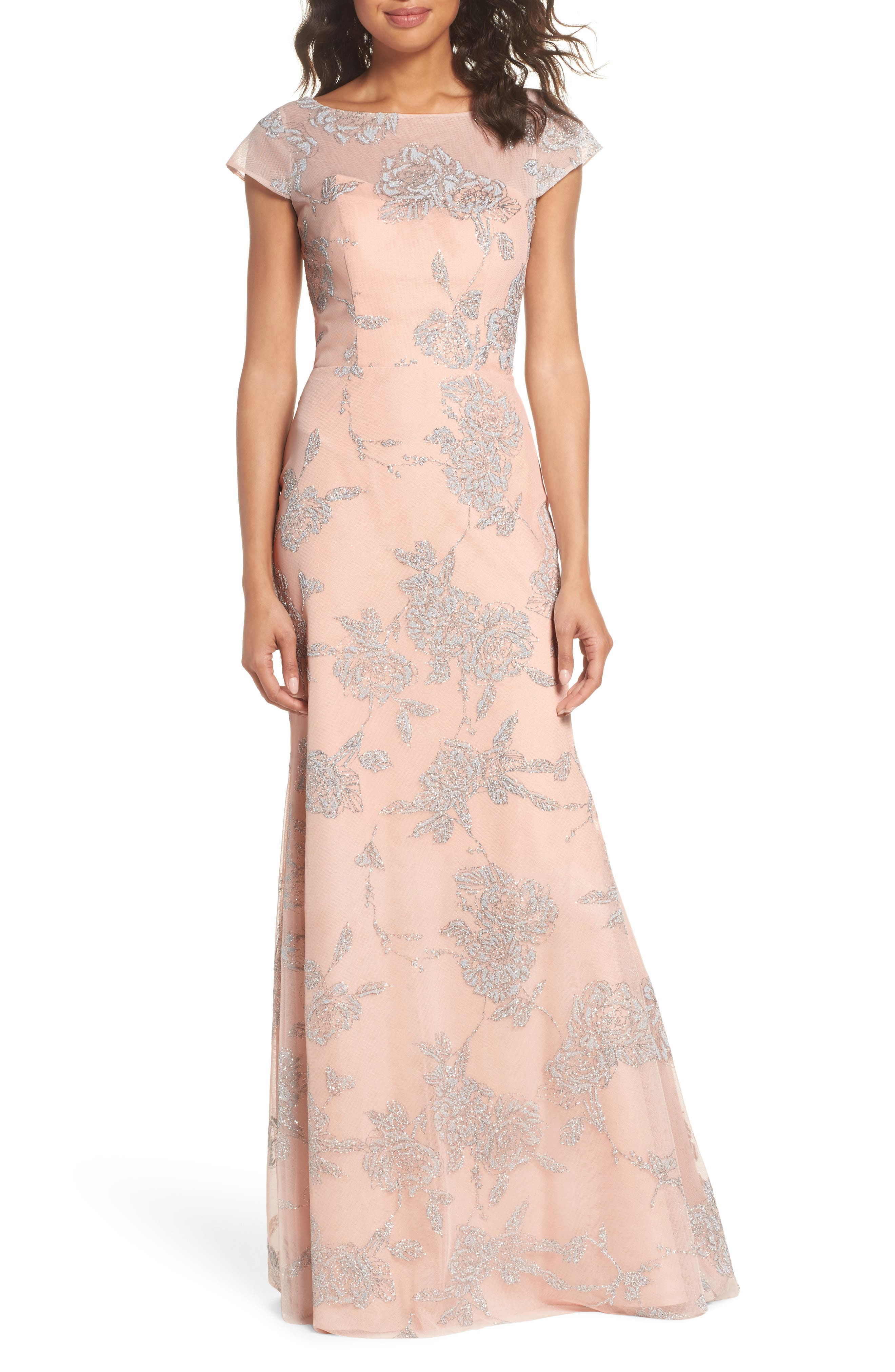 Embellished Bateau Neck Gown,                         Main,                         color, Almond