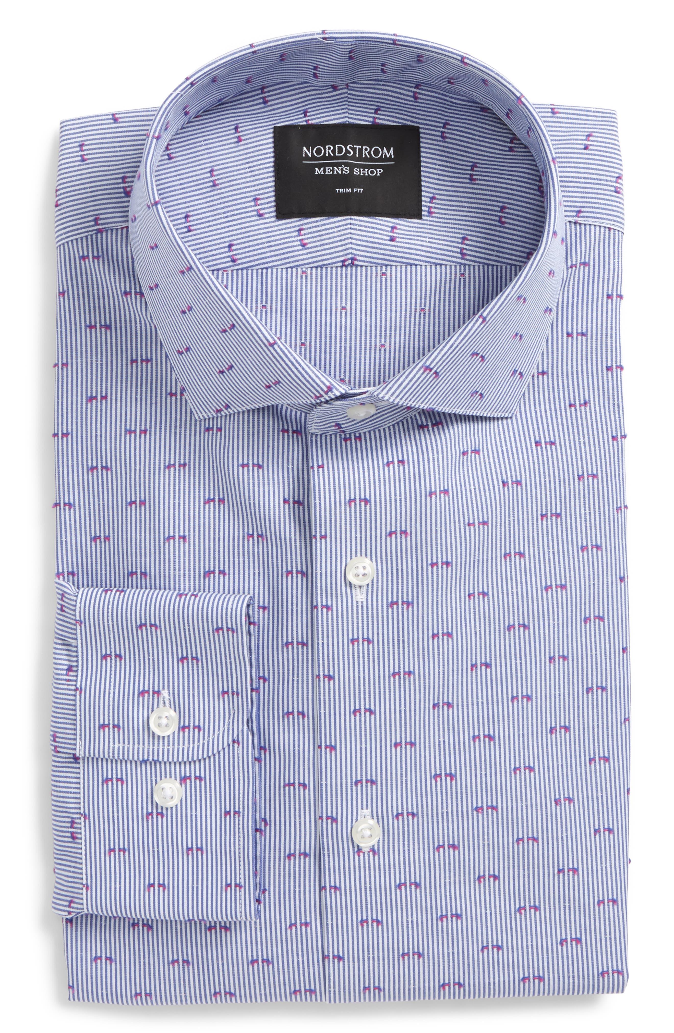 Trim Fit Stripe Fil Coupé Dress Shirt,                         Main,                         color, Blue Berry