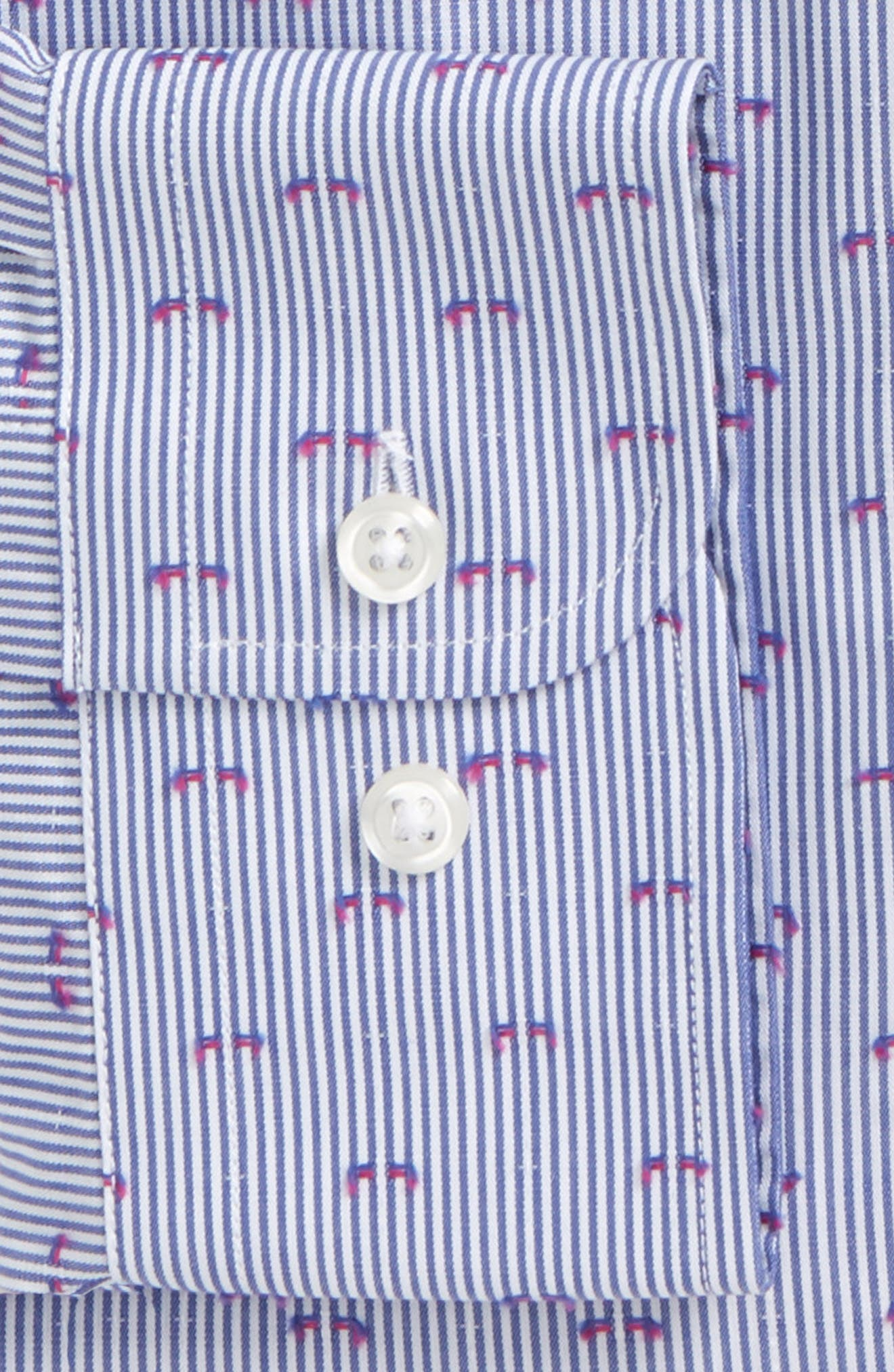 Trim Fit Stripe Fil Coupé Dress Shirt,                             Alternate thumbnail 2, color,                             Blue Berry