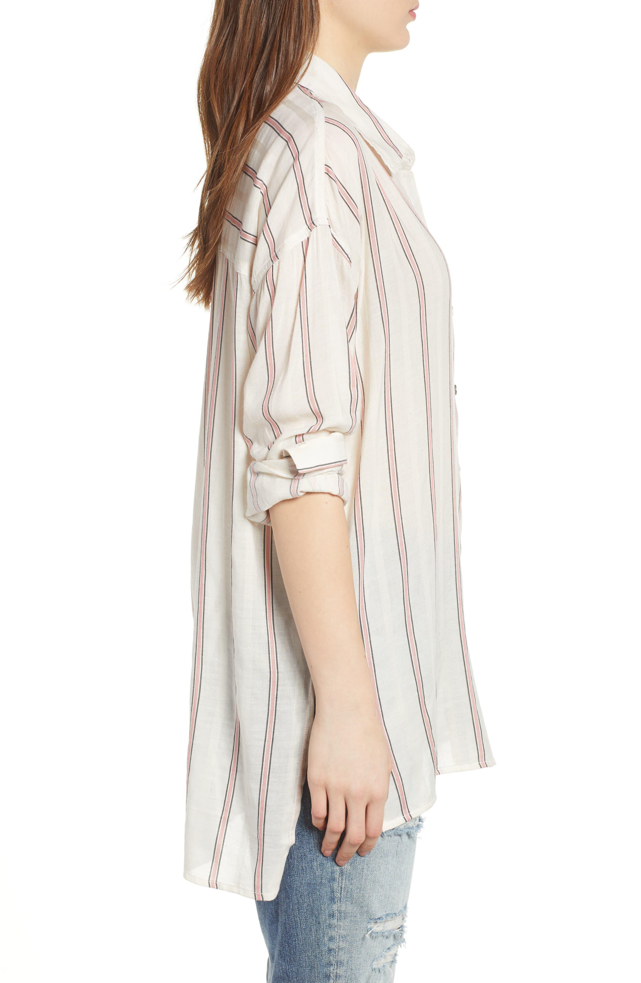Stripe Woven Shirt,                             Alternate thumbnail 3, color,                             Off White
