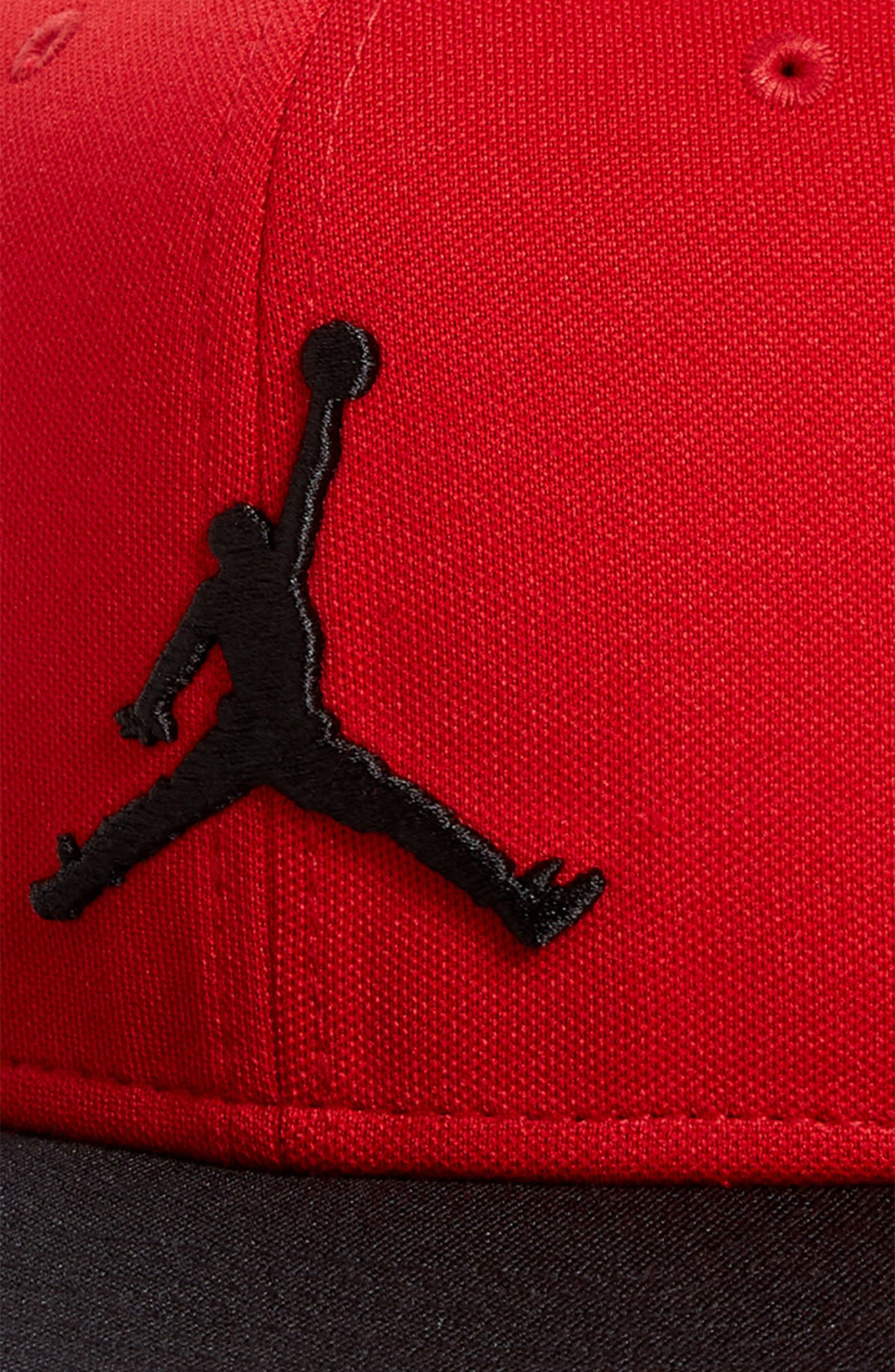 Jumpman Logo Baseball Cap,                             Alternate thumbnail 3, color,                             Gym Red/ Black
