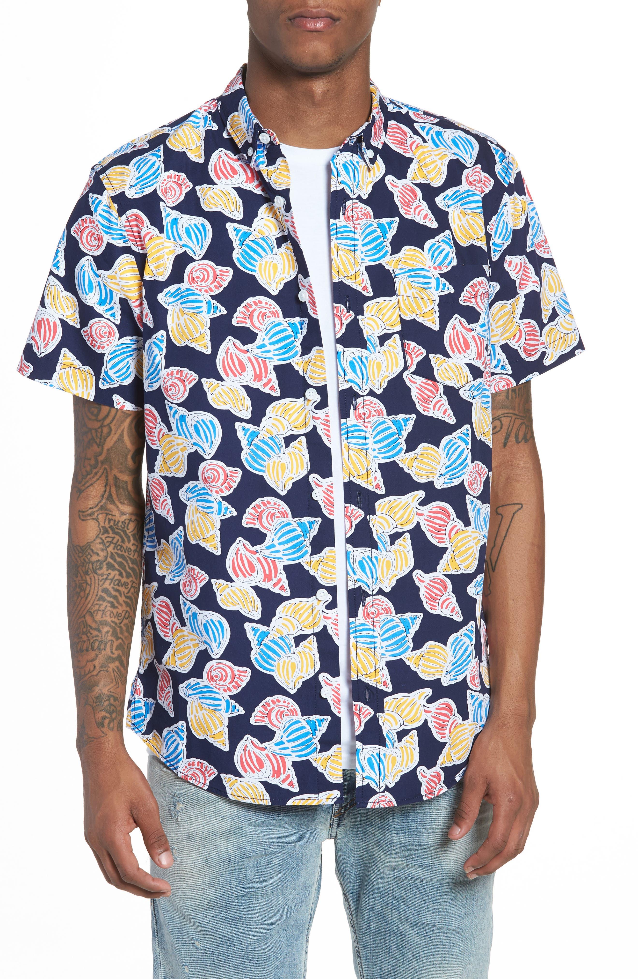 Print Nep Woven Shirt,                         Main,                         color, Navy Shell Print