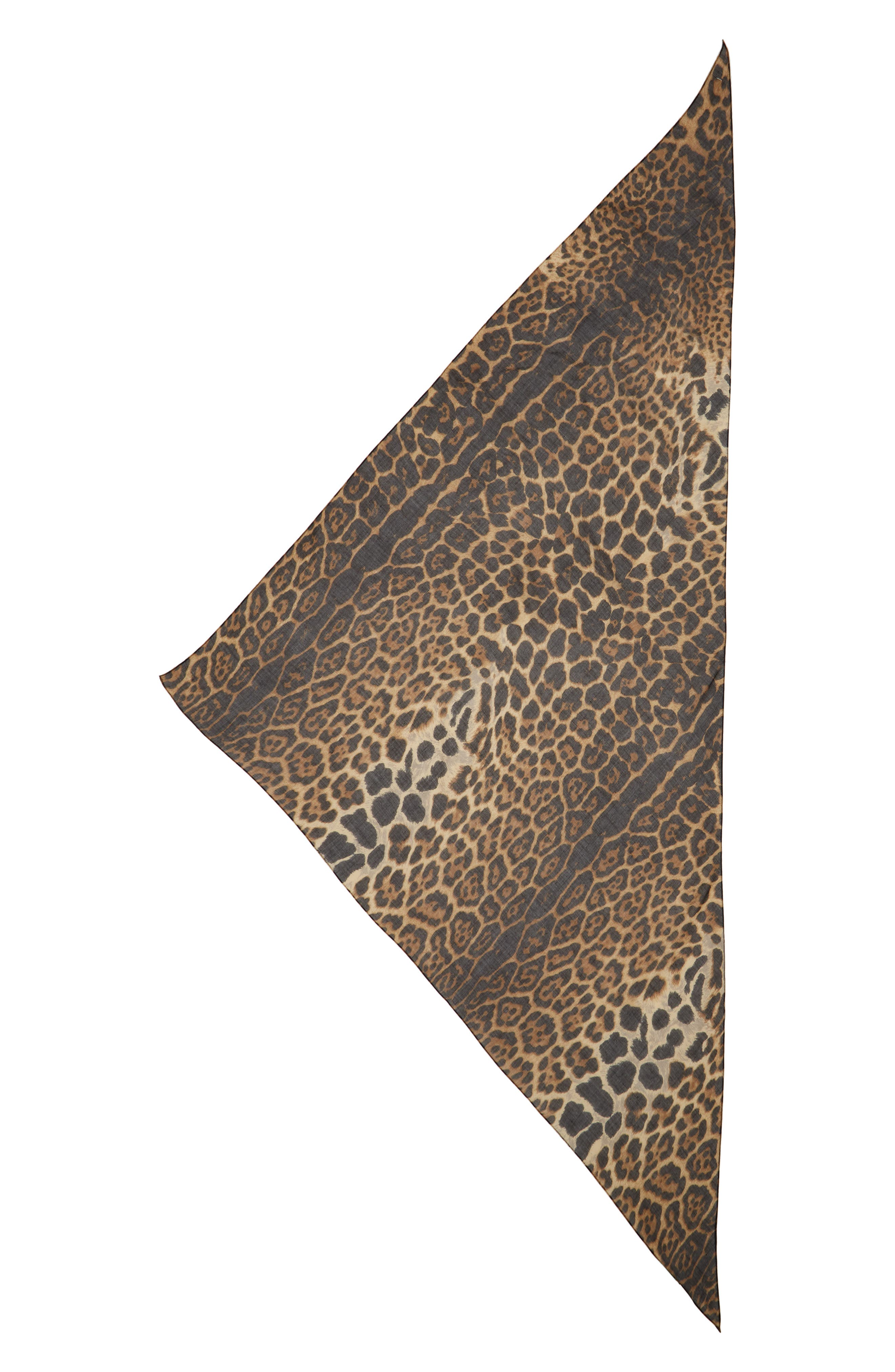 YSL Leopard Print Cashmere & Silk Triangle Scarf,                             Main thumbnail 1, color,                             Mahogany/ Black
