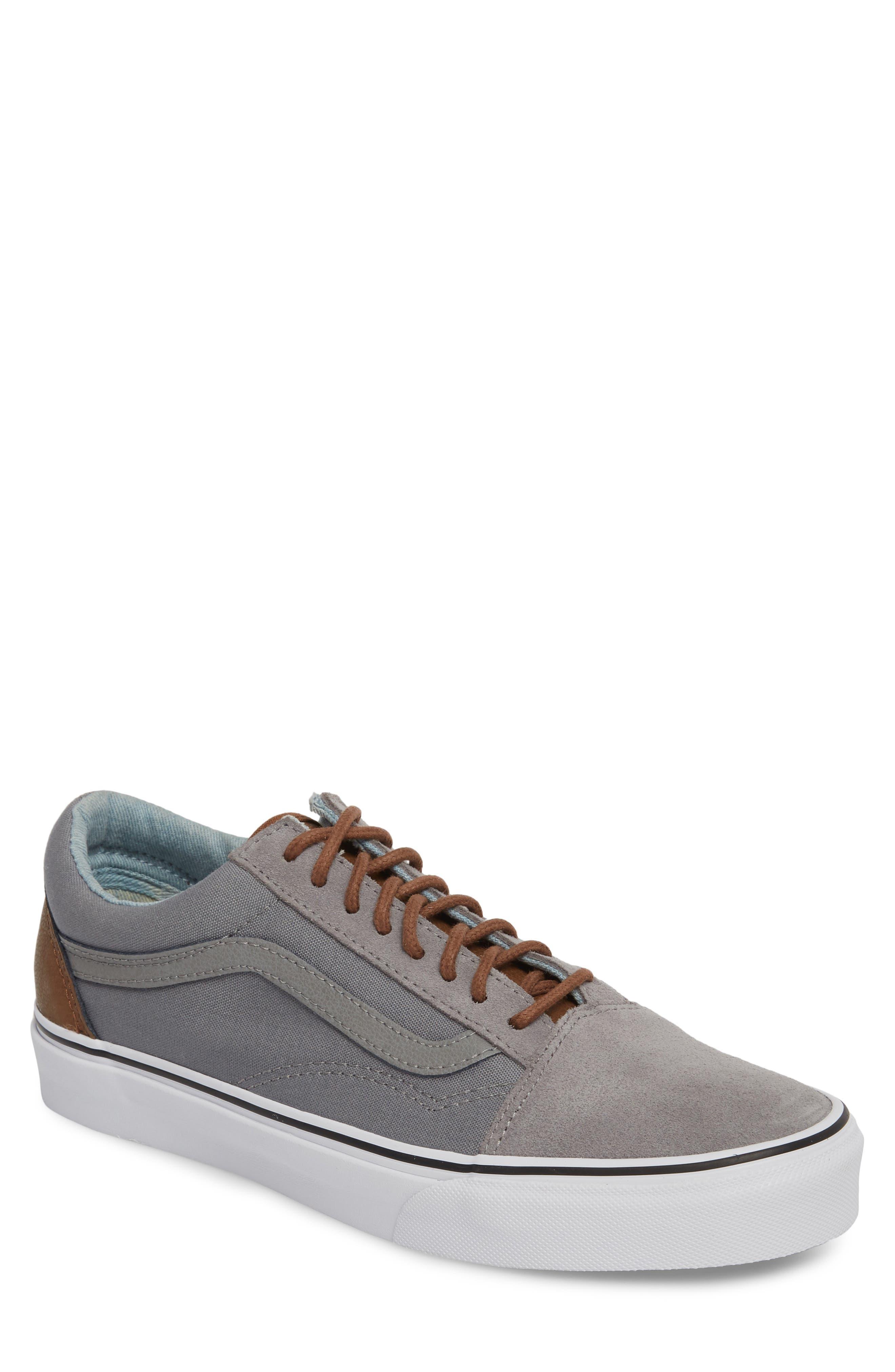Old Skool Low Top Sneaker,                             Main thumbnail 1, color,                             Frost Grey/ Acid Denim Leather
